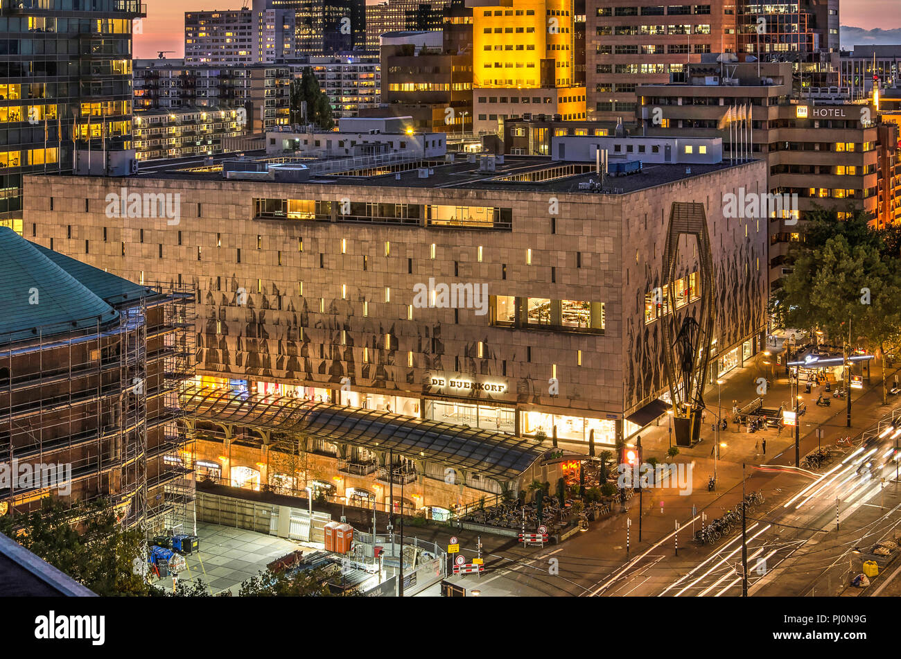 Rotterdam, The Netherlands, August 31, 2018: Bijenkorf department store by architect Marcel Breuer (1957), Koopgoot shopping street and Coolsingel bou - Stock Image