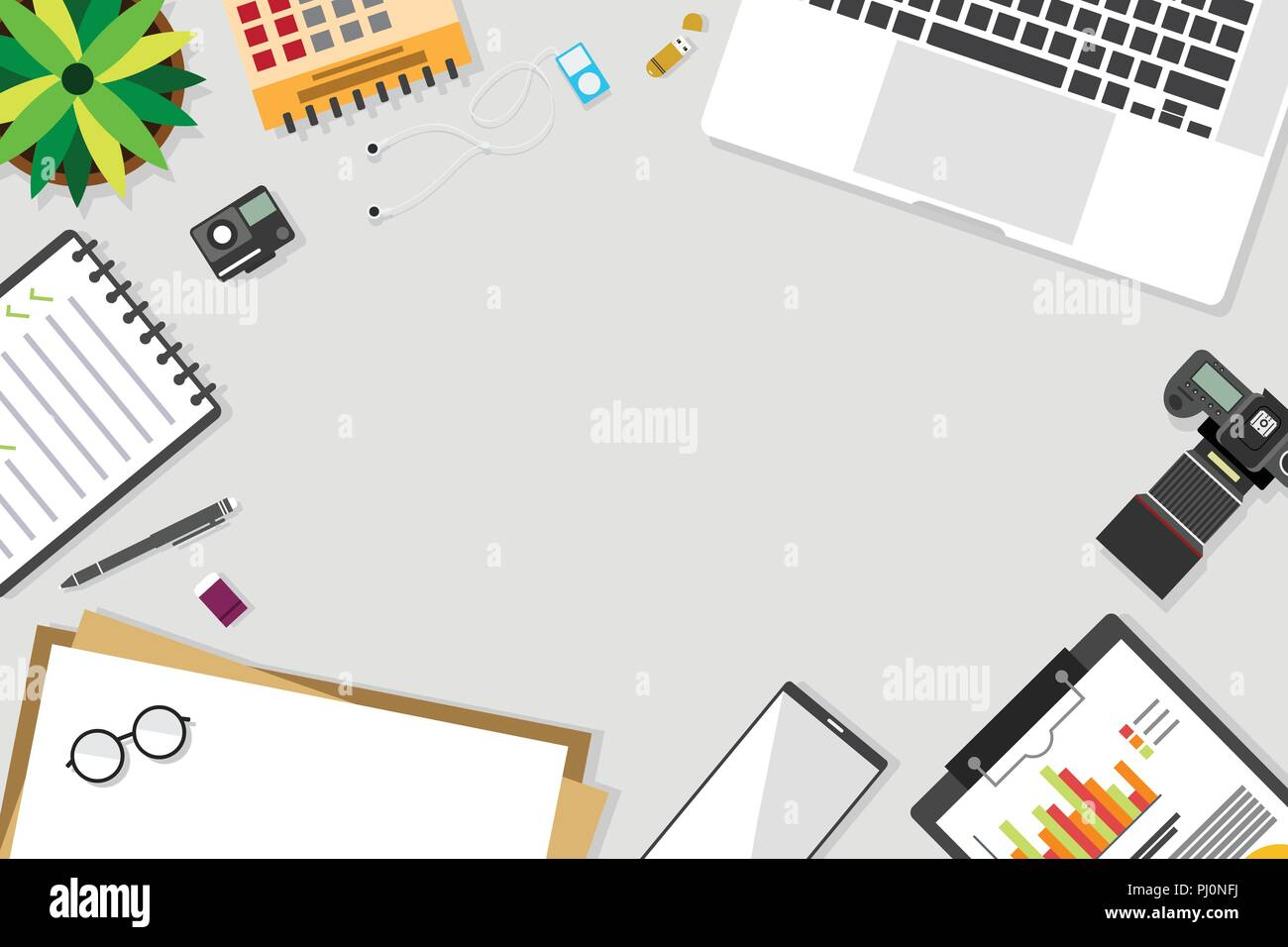 Top View Of Table Working And Working Desk And Free Space For Text
