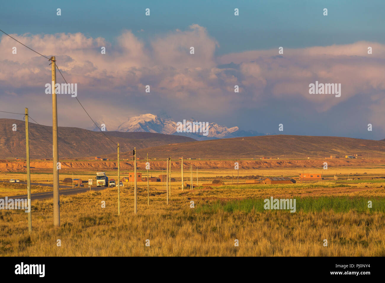 Illimani volcano, Aymara, Cordillera Real, La Paz department, Bolivia Stock Photo