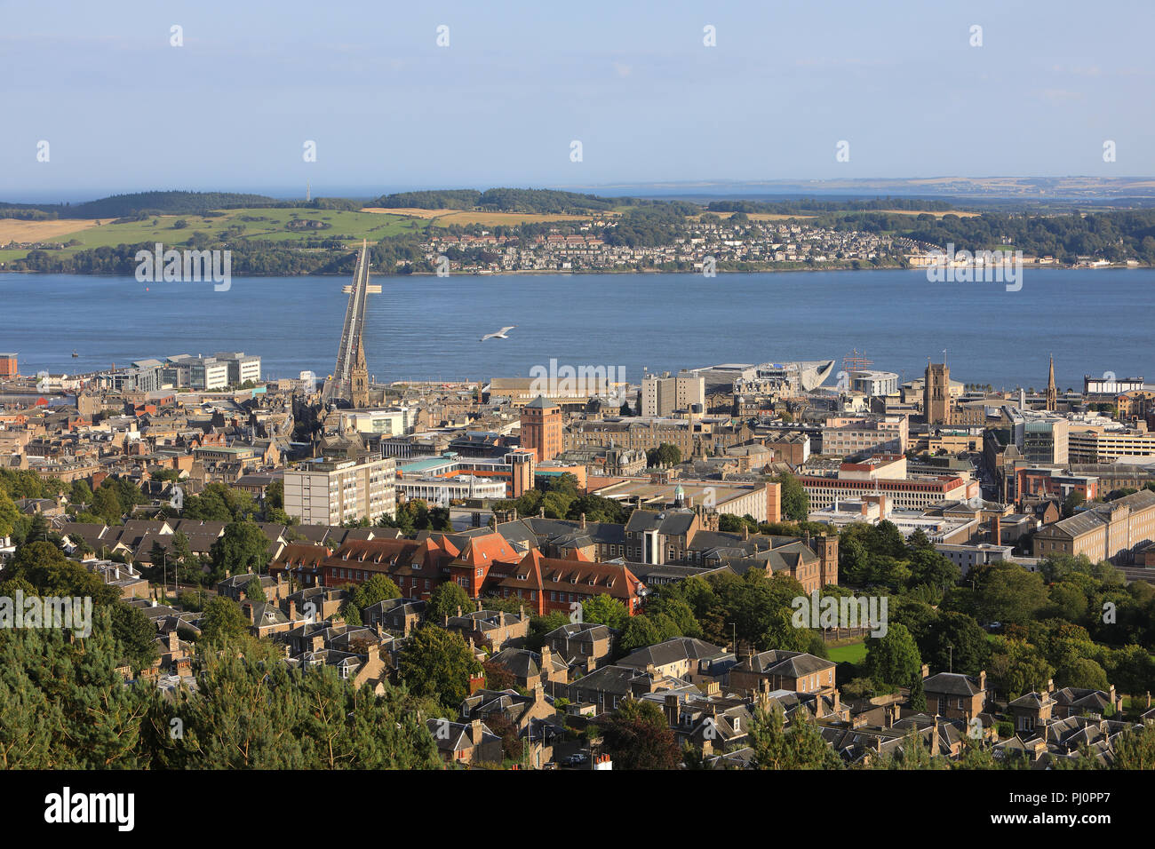 The view from Dundee Law, over the city and the River Tay, in Scotland, UK Stock Photo