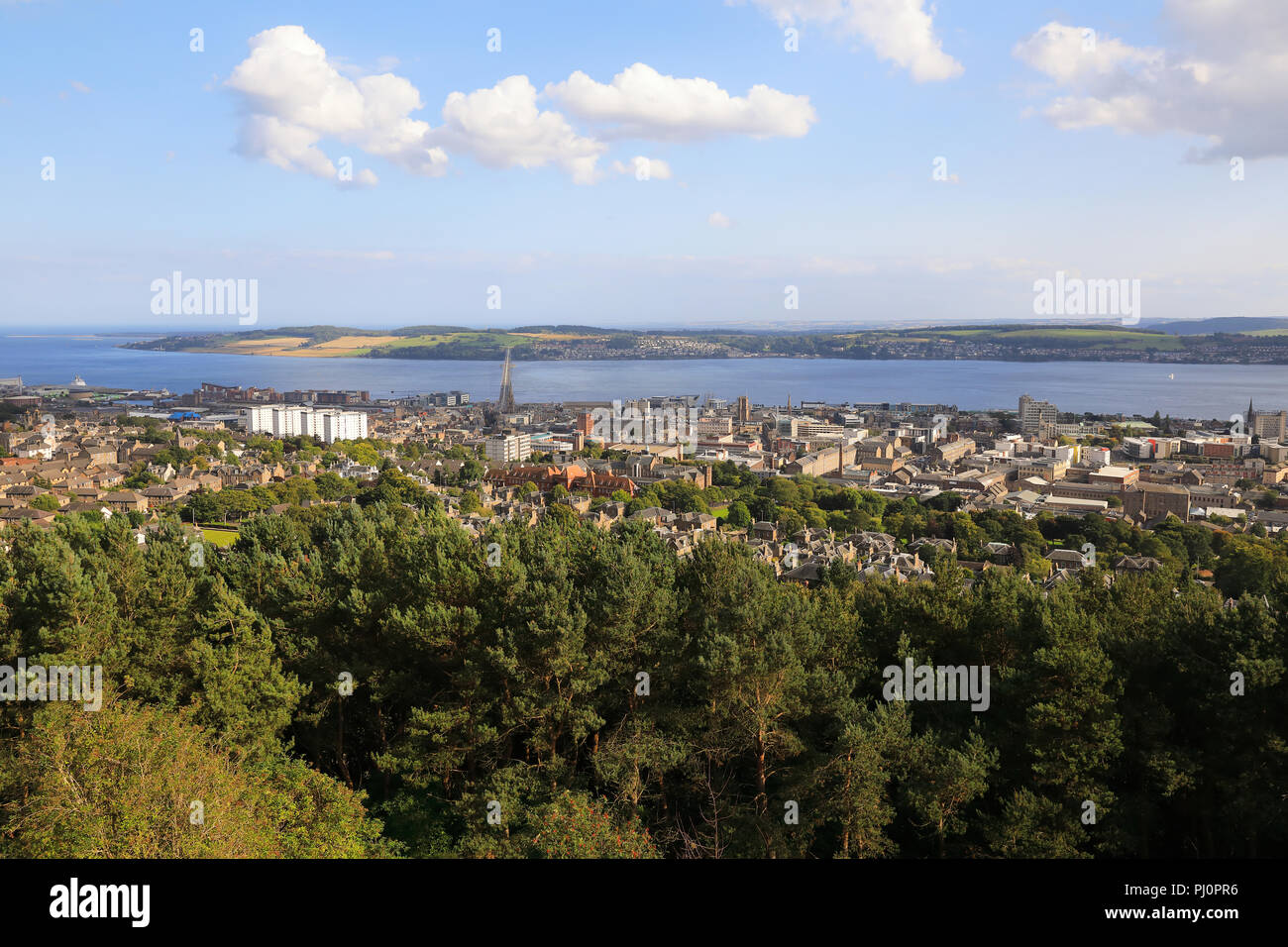 The view from Dundee Law, over the city and the River Tay, in Scotland, UK - Stock Image