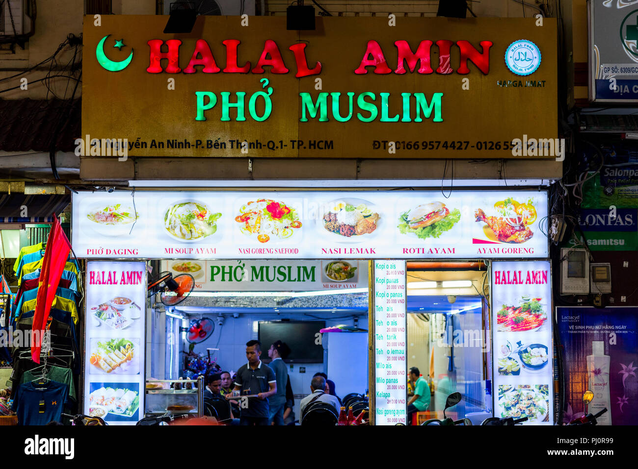 Ho Chi Minh Vietnam April 27 2018 Halal Food Restaurant Halal Amin Pho Muslim With The Sign Announces A Halal Version Of Soup Pho Stock Photo Alamy