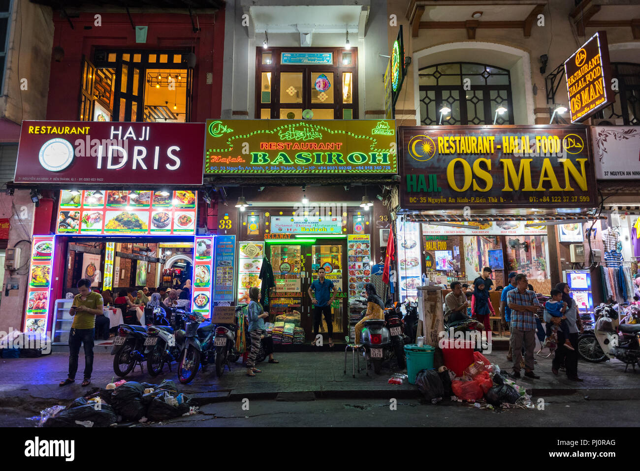 Ho Chi Minh City Vietnam April 28 2018 Garbage In Front Of Halal Food Restaurants Next To Ben Thanh Market Stock Photo Alamy