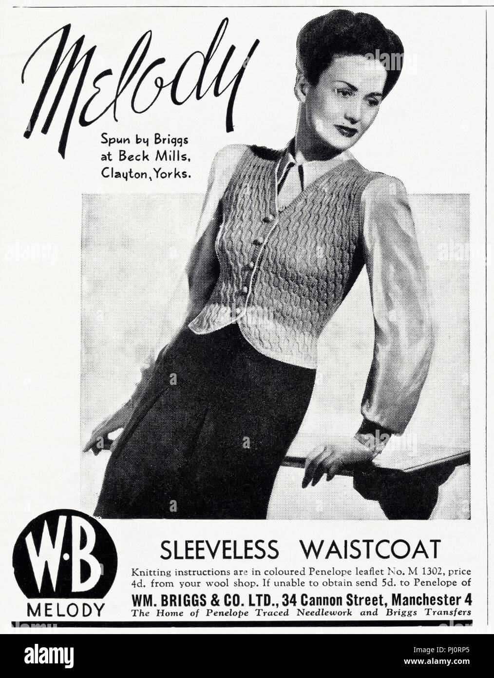 77e0af5de 1940s old vintage original advert advertising ladies fashion knitwear by  Melody of Manchester England UK in