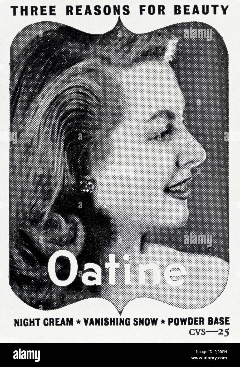 1940s old vintage original advert advertising ladies cosmetics of Oatine in English magazine circa 1947 - Stock Image