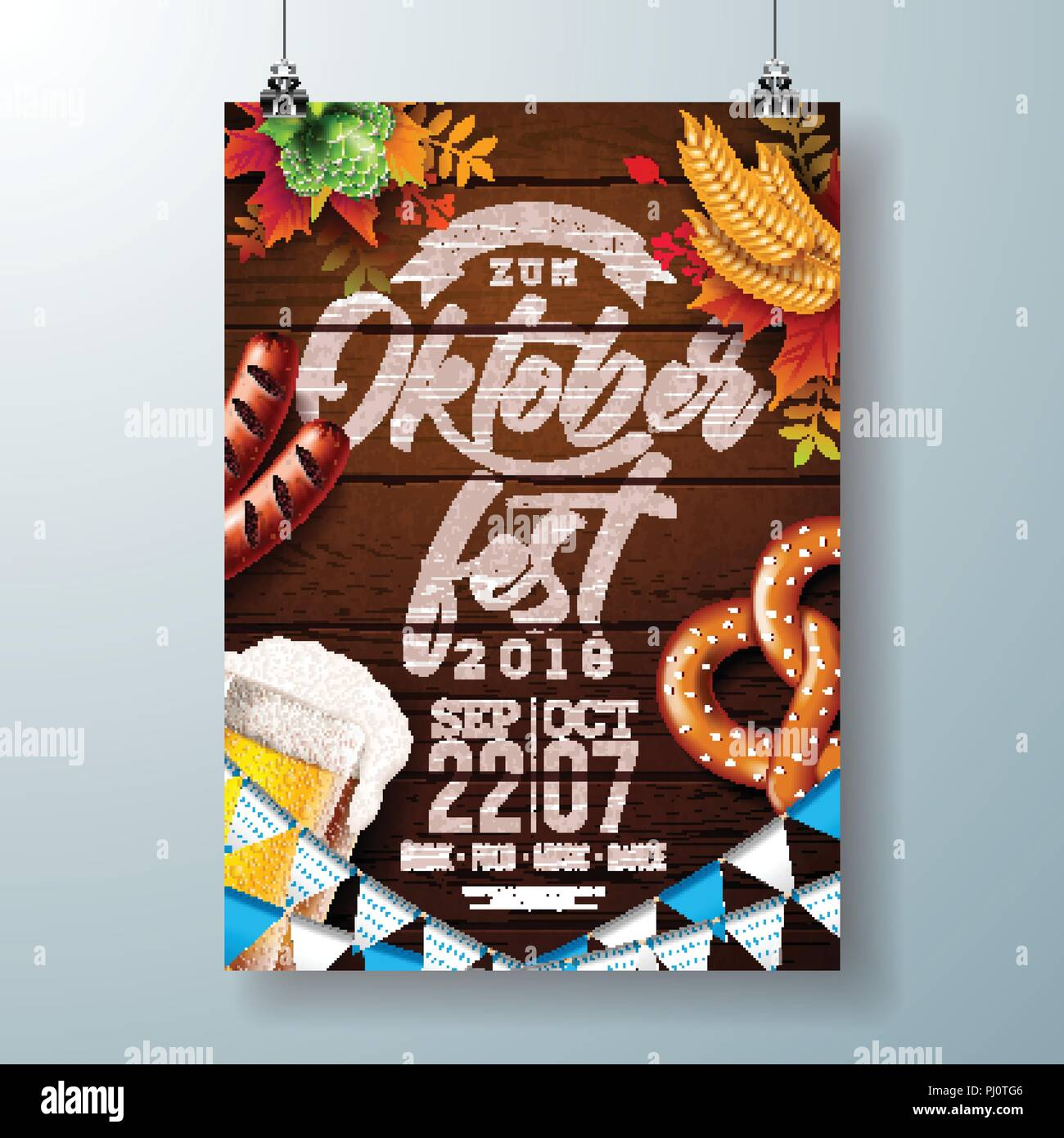 Oktoberfest party poster vector illustration with typography