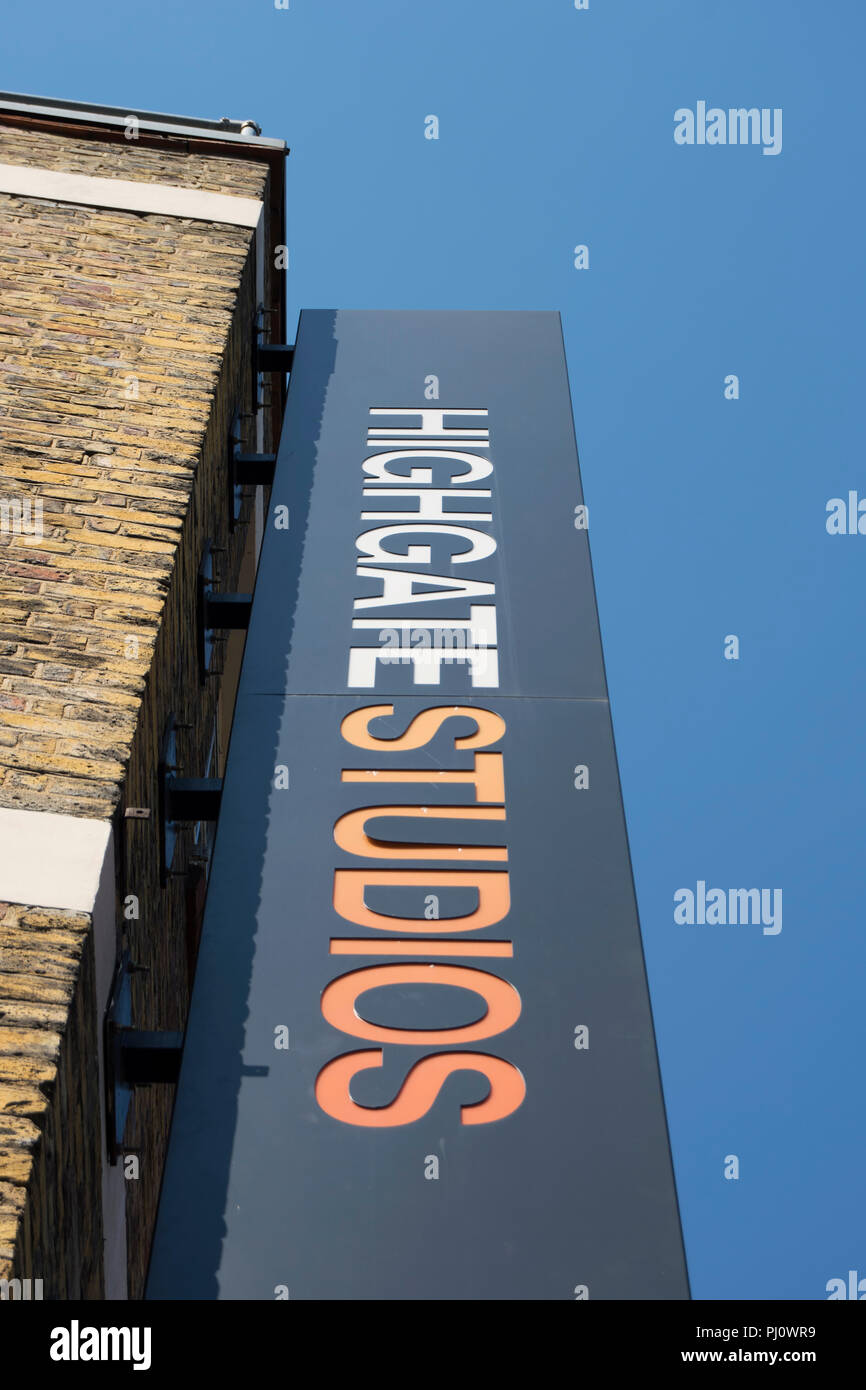 hanging sign for highgate studios, offering business space in a former victorian warehouse, in kentish town, london, england - Stock Image