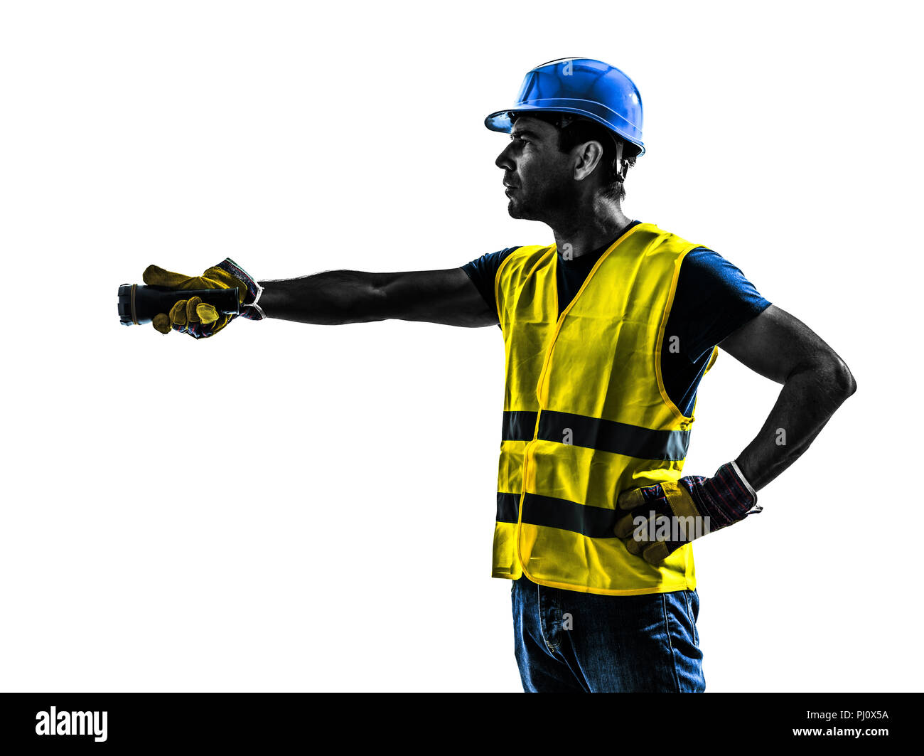 one construction worker signaling with flashlight silhouette isolated in white background - Stock Image