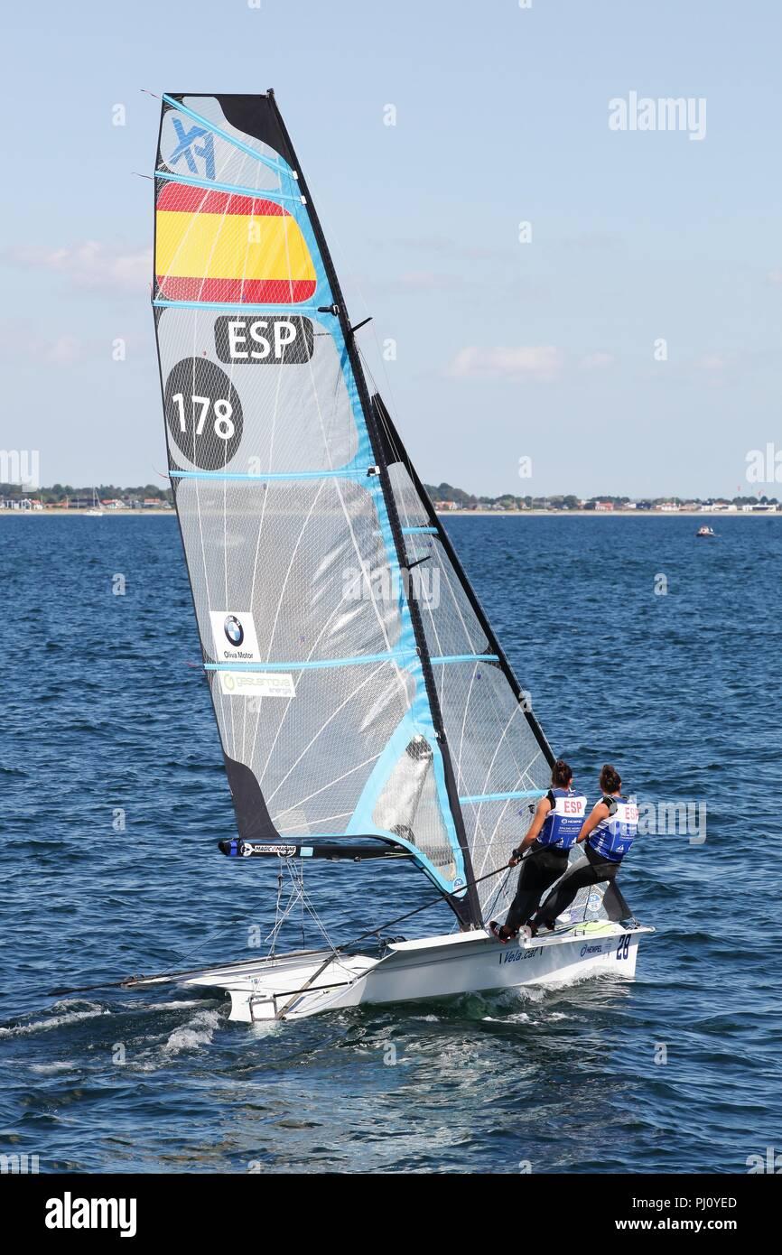 Aarhus, Denmark - August 9, 2018: Spanish 49er FX sailing ship during the sailing world championship 2018 in Aarhus, Denmark - Stock Image