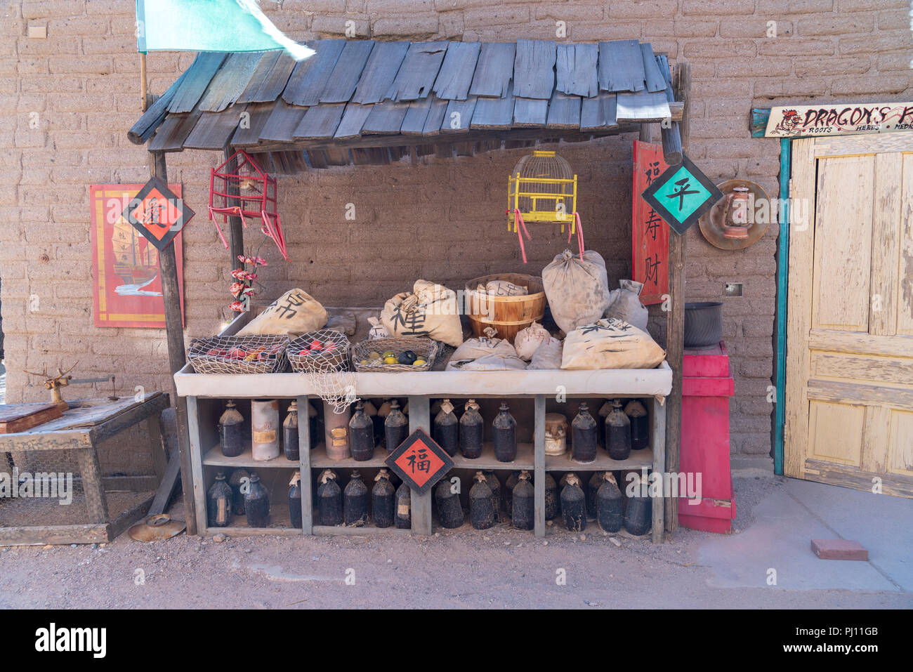 Wooden vendor stand in back alley on movie studios. Old Tucson movie studios. - Stock Image