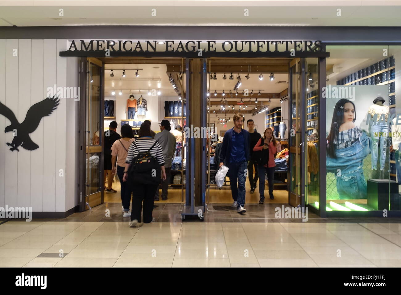 August 31 2018 People Are Entering And Exiting At American Eagle Outfitters Store Inside Mall
