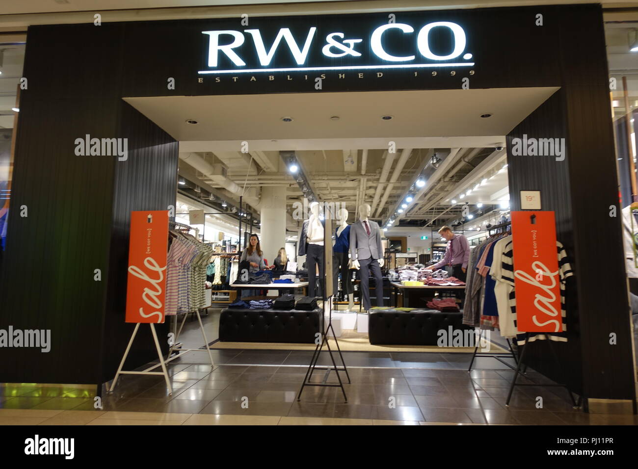 August 31 2018- RW & CO. Established 1999 Store inside Metrotown Burnaby, BC Canada - Stock Image