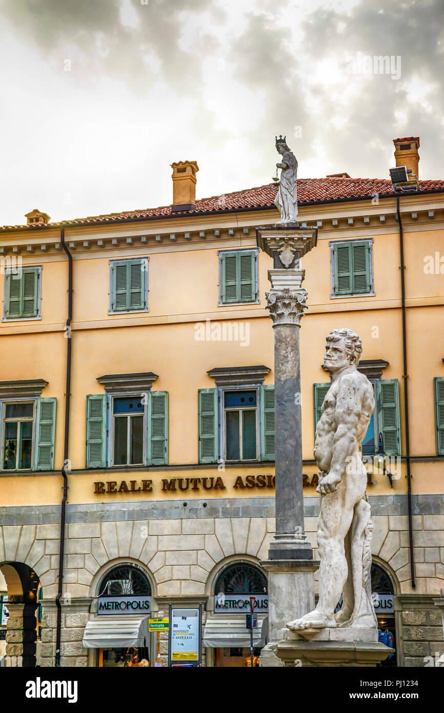 Statues in the Piazza della Liberta (Freedom Square) in Udine, Italy - Stock Image