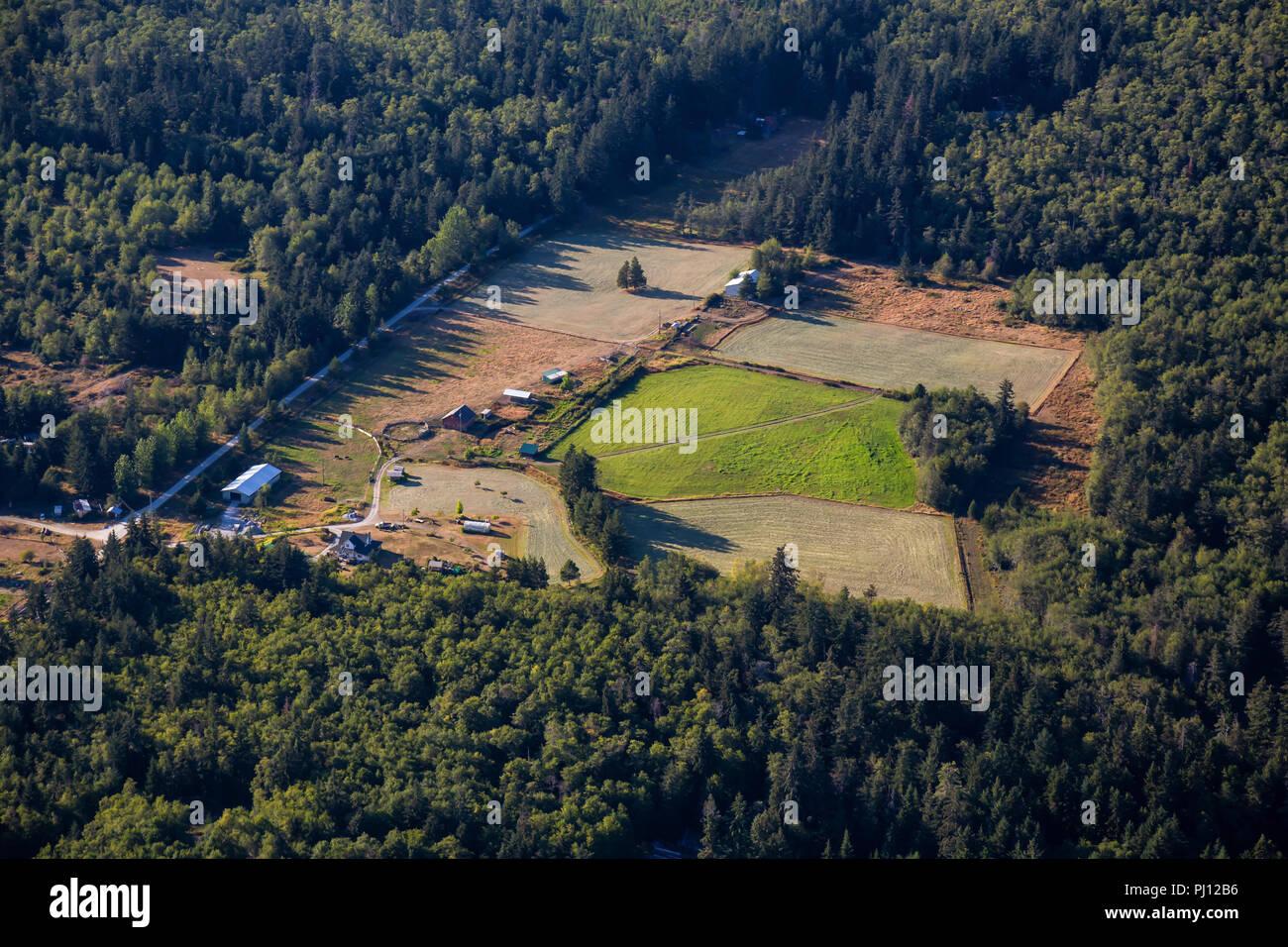 Aerial view of Farm lands on Texada Island, Powell River, Sunshine Coast, BC, Canada. - Stock Image