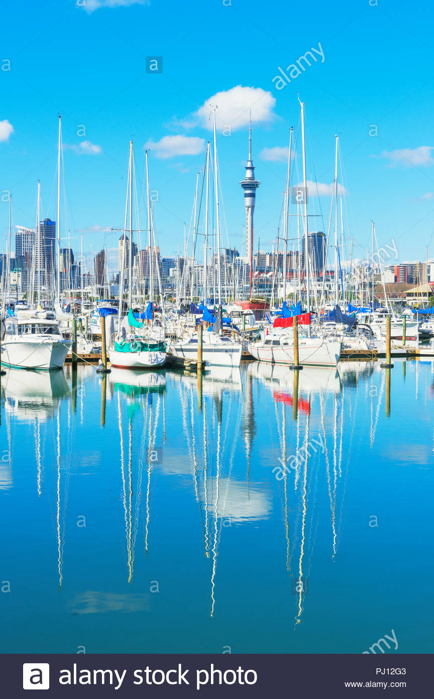 Auckland skyline and yachts from Westhaven Marina, Auckland, North Island, New Zealand, Stock Photo