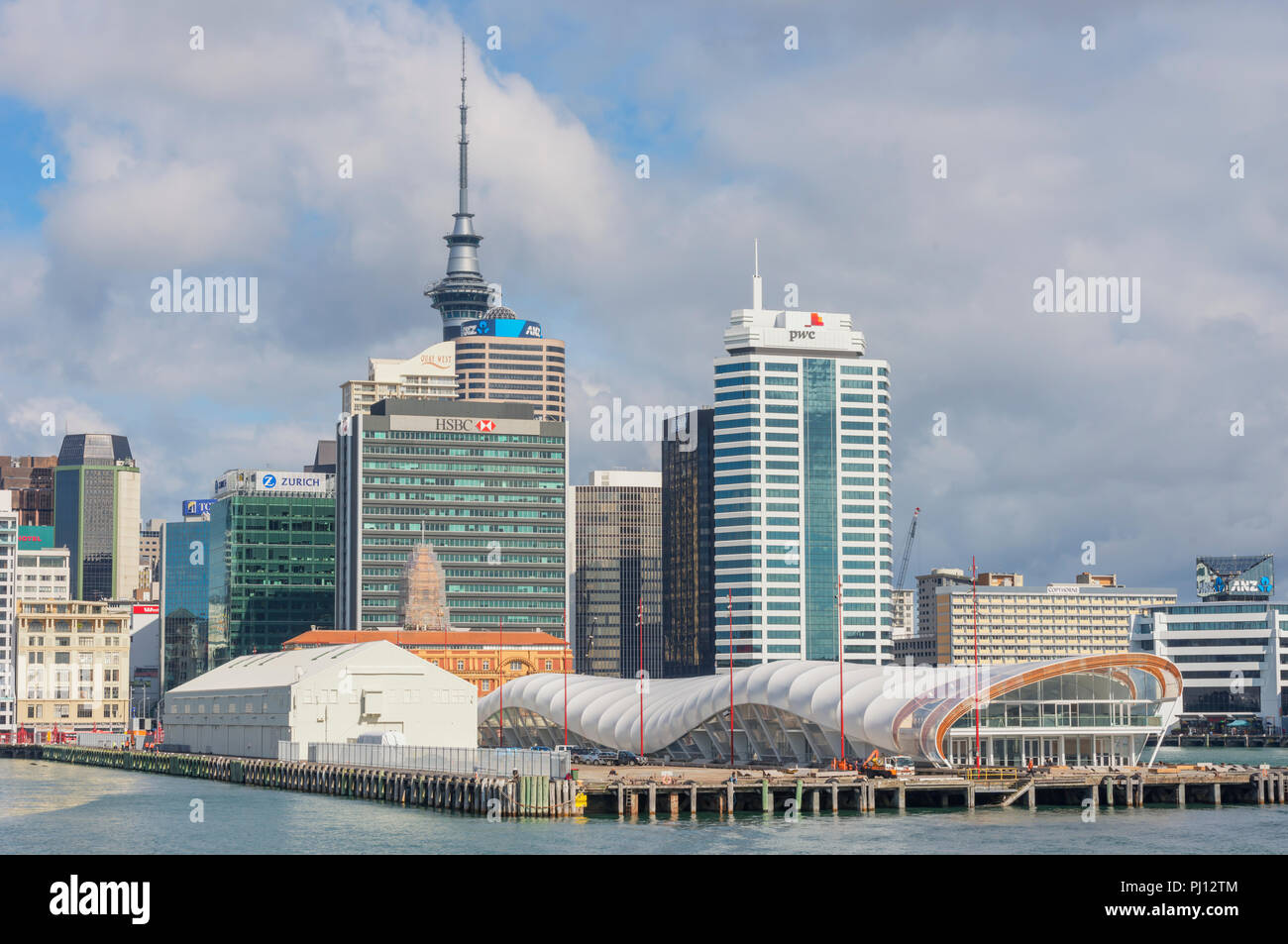 Auckland ferry terminal and Skyline, Auckland, North Island, New Zealand, - Stock Image