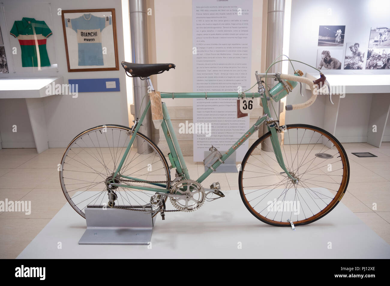 Vintage Bianchi road bike on display at an exhibition held