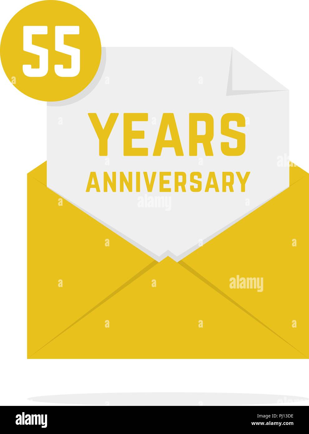55 Years Anniversary Missive In Golden Envelope
