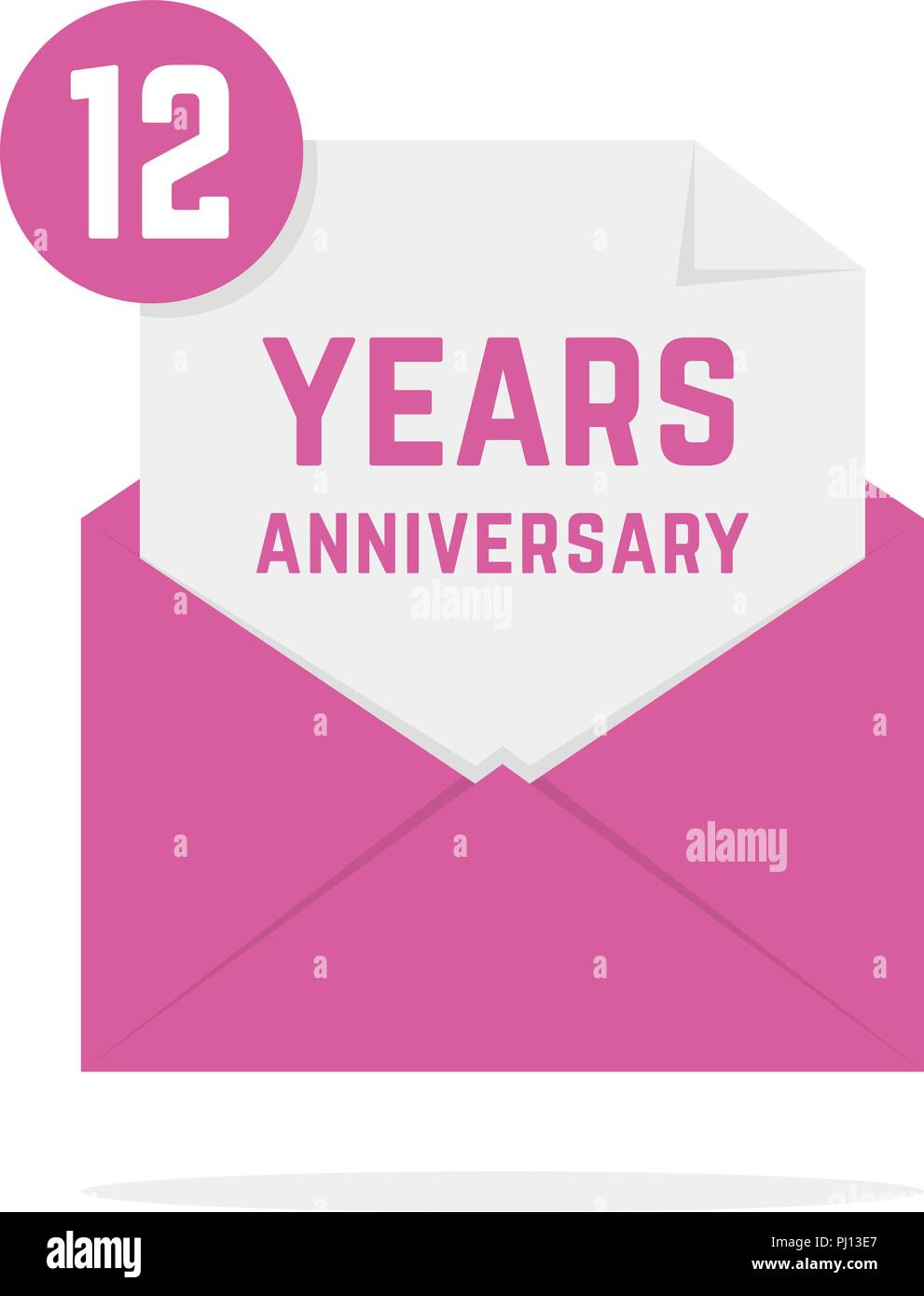 12 Anniversario Matrimonio.12 Years Anniversary Icon In Open Letter Stock Vector Art