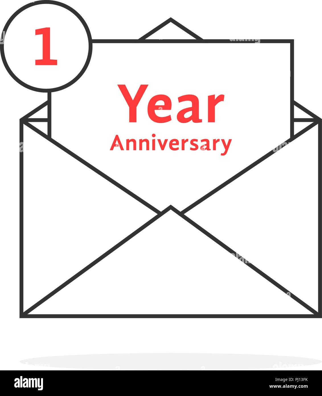 thin line 1 year anniversary logo like open letter - Stock Vector