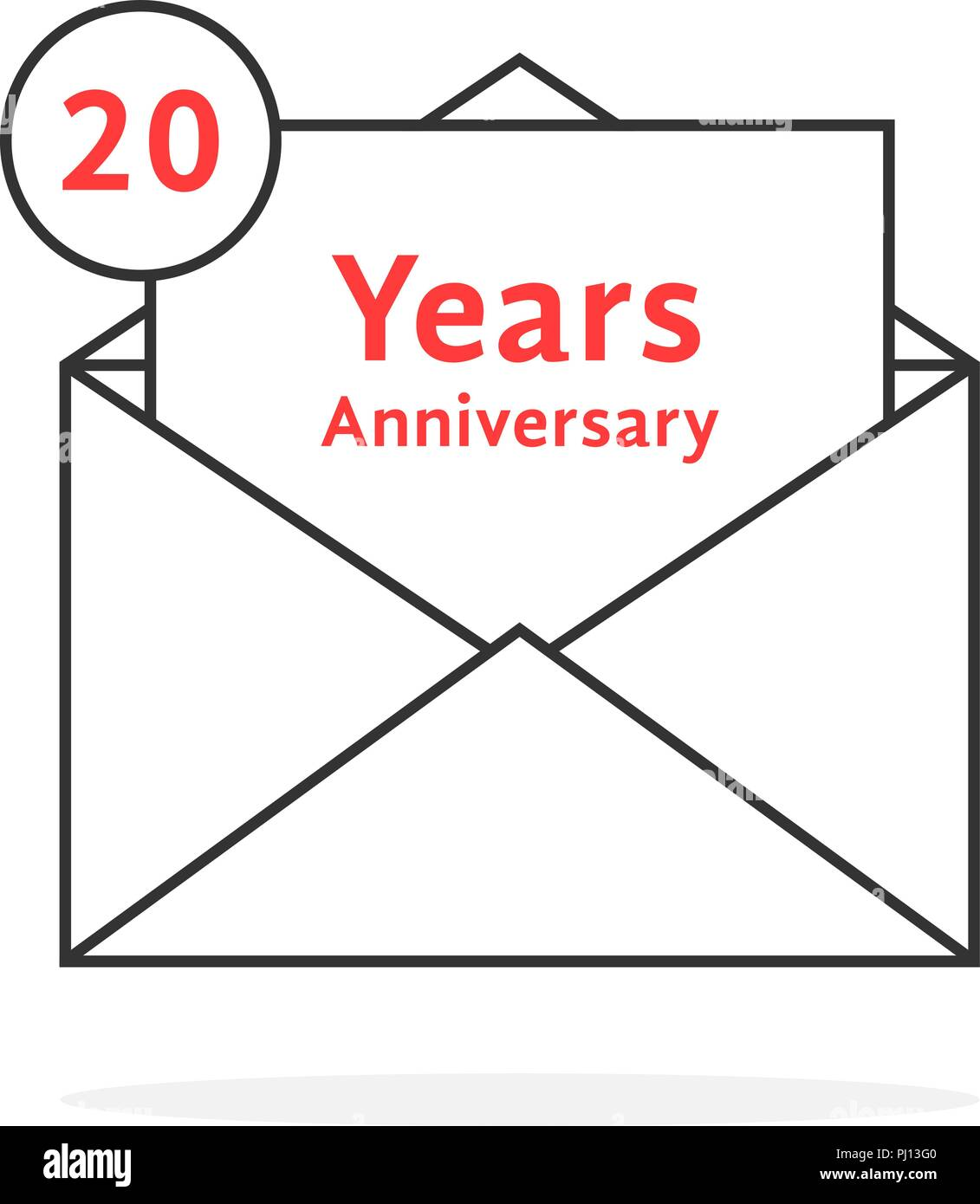 thin line 20 years anniversary logo like open letter - Stock Vector