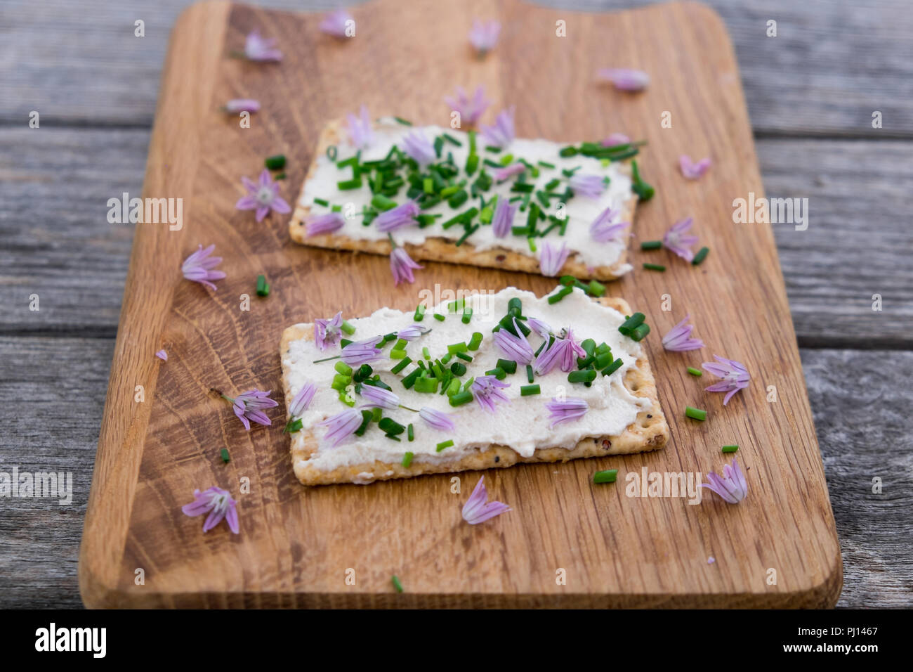 Two dairy and lactose-free vegan cream cheese spread made from cashew and macadamia nuts on crackers with fresh chopped chives and edible chive flower - Stock Image