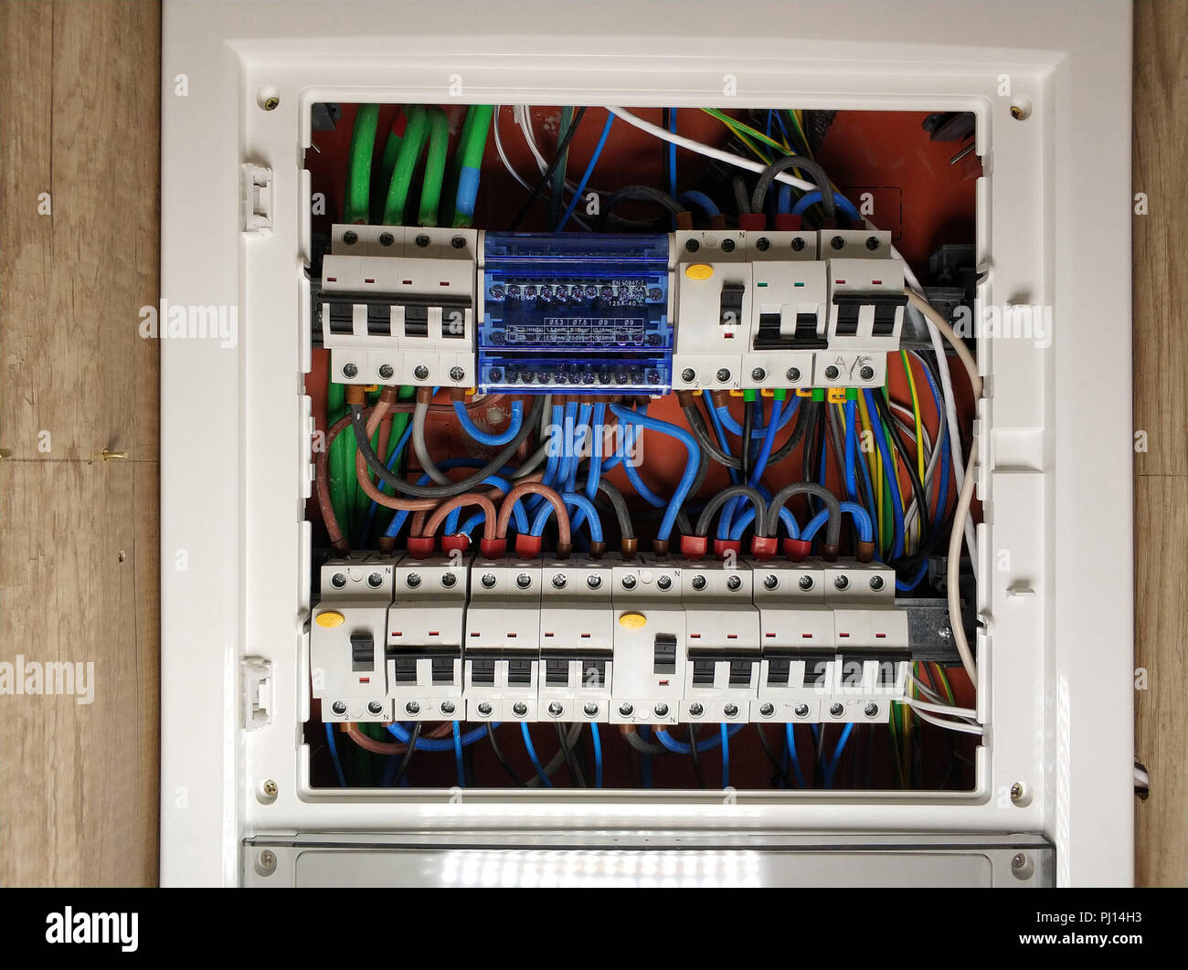 Electrical Panel Circuit Breakers Stock Photos Wiring Circuitbreaker Electricalpanel Close Up Of White Frame Switch Board With Colourful Cables Automatic Switchers