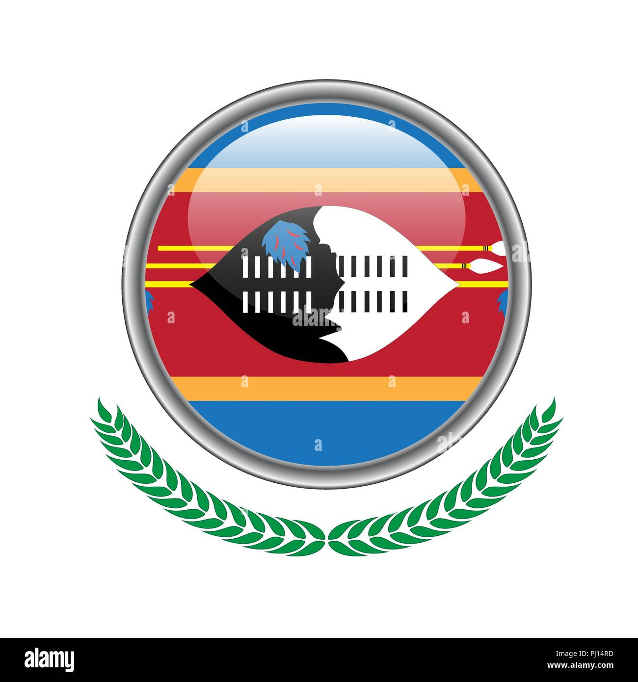 Swaziland flag button. Swaziland flag icon. Vector illustration of swaziland flag on white background. Stock Vector