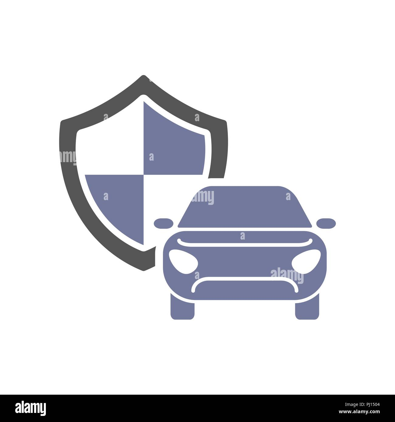 Car guard shield sign, collision insurance, logo emblem protection, driver flat security system badge Stock Vector