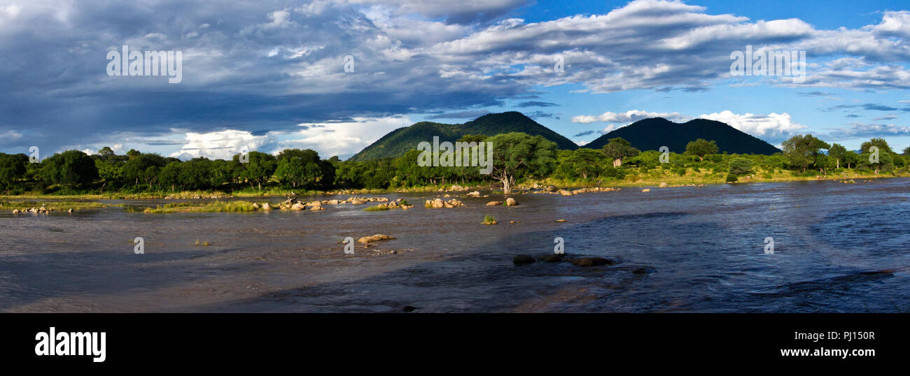 The Great Ruaha River flows strongly during the peak of the rainy season but since the rice farmers starting taking water off with no restrictions - Stock Image