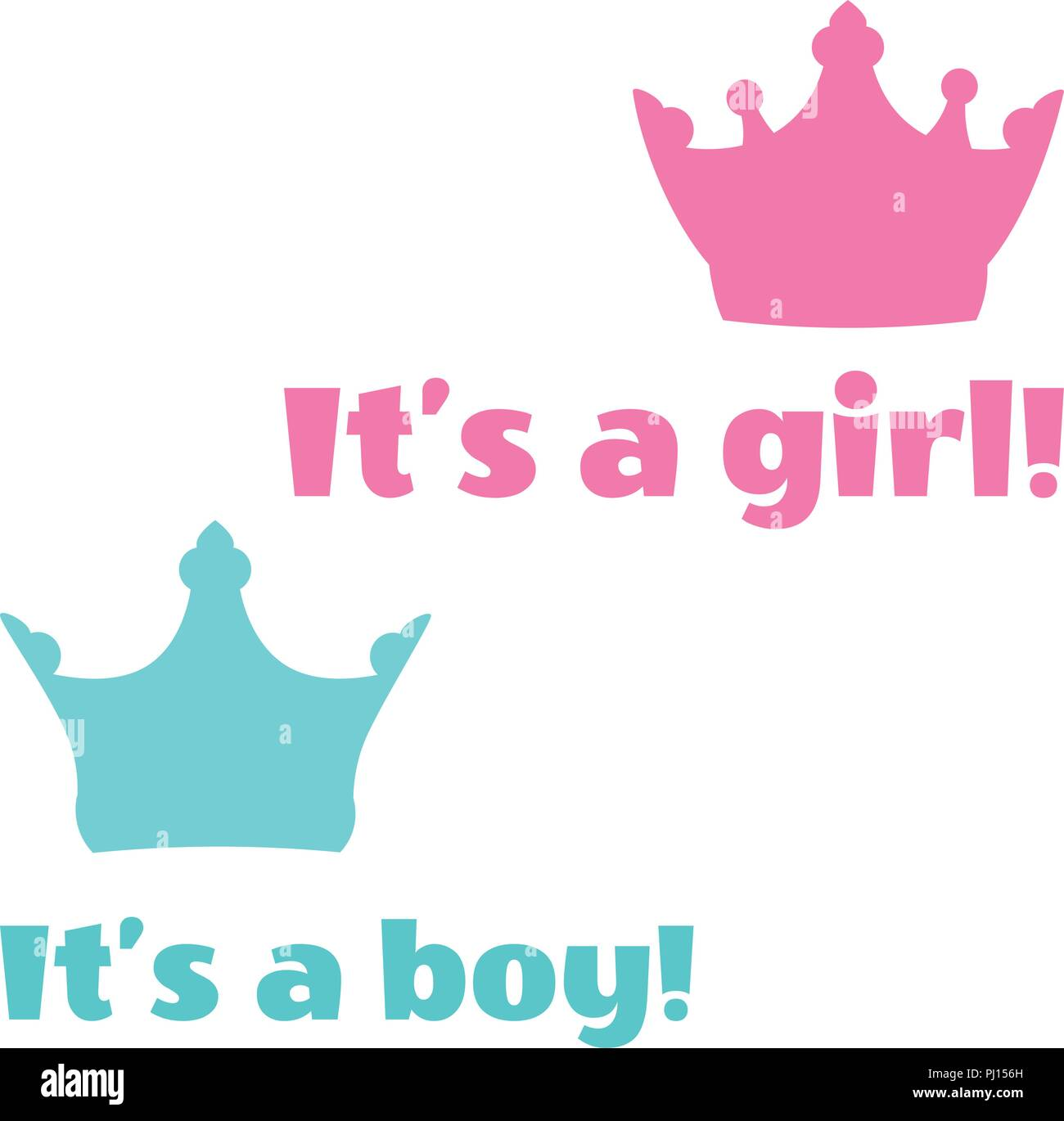 vector illustration baby shower cards its a boy text its a girl text - Baby Shower Cards