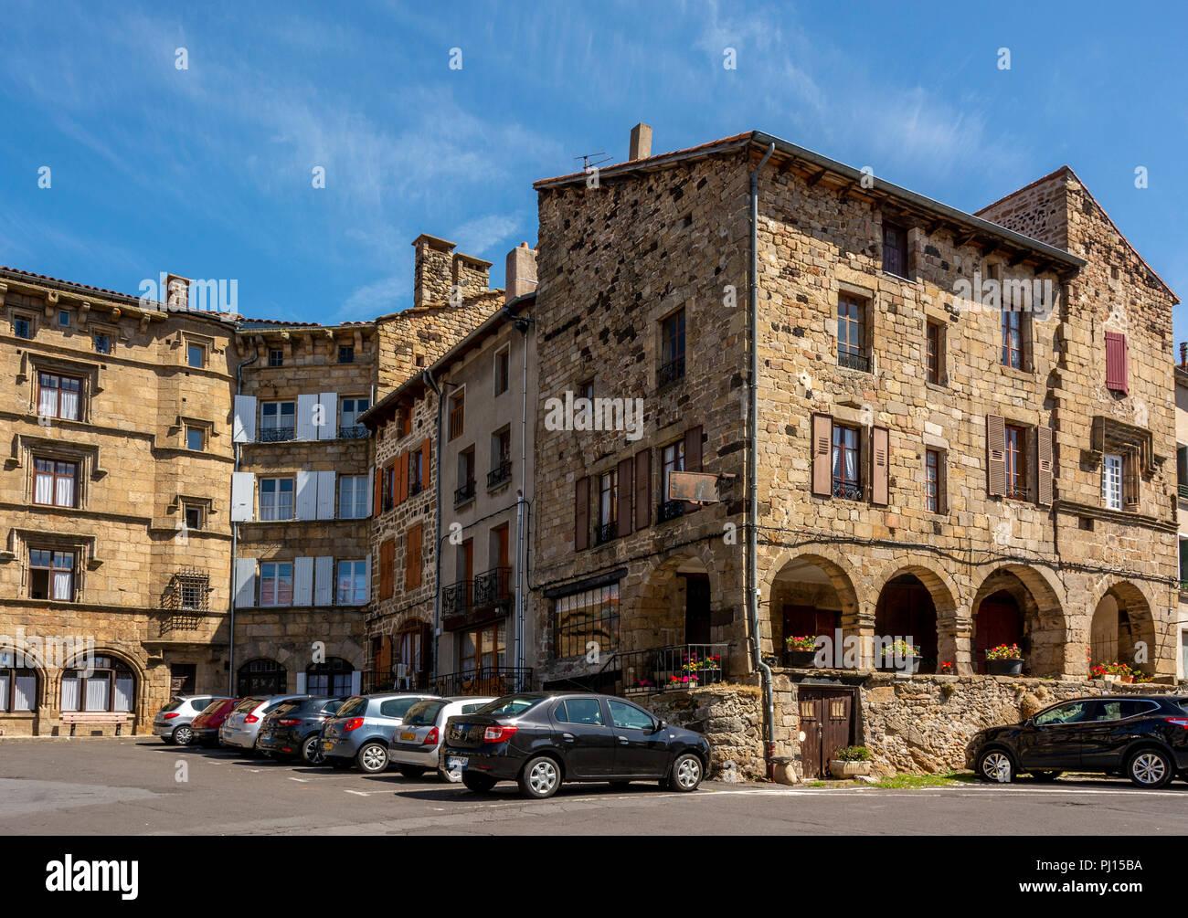 Place de la Halle of Pradelles labelled les plus beaux villages de France on Stevenson trail, Haute-Loire, Auvergne Rhone Alpes, France - Stock Image