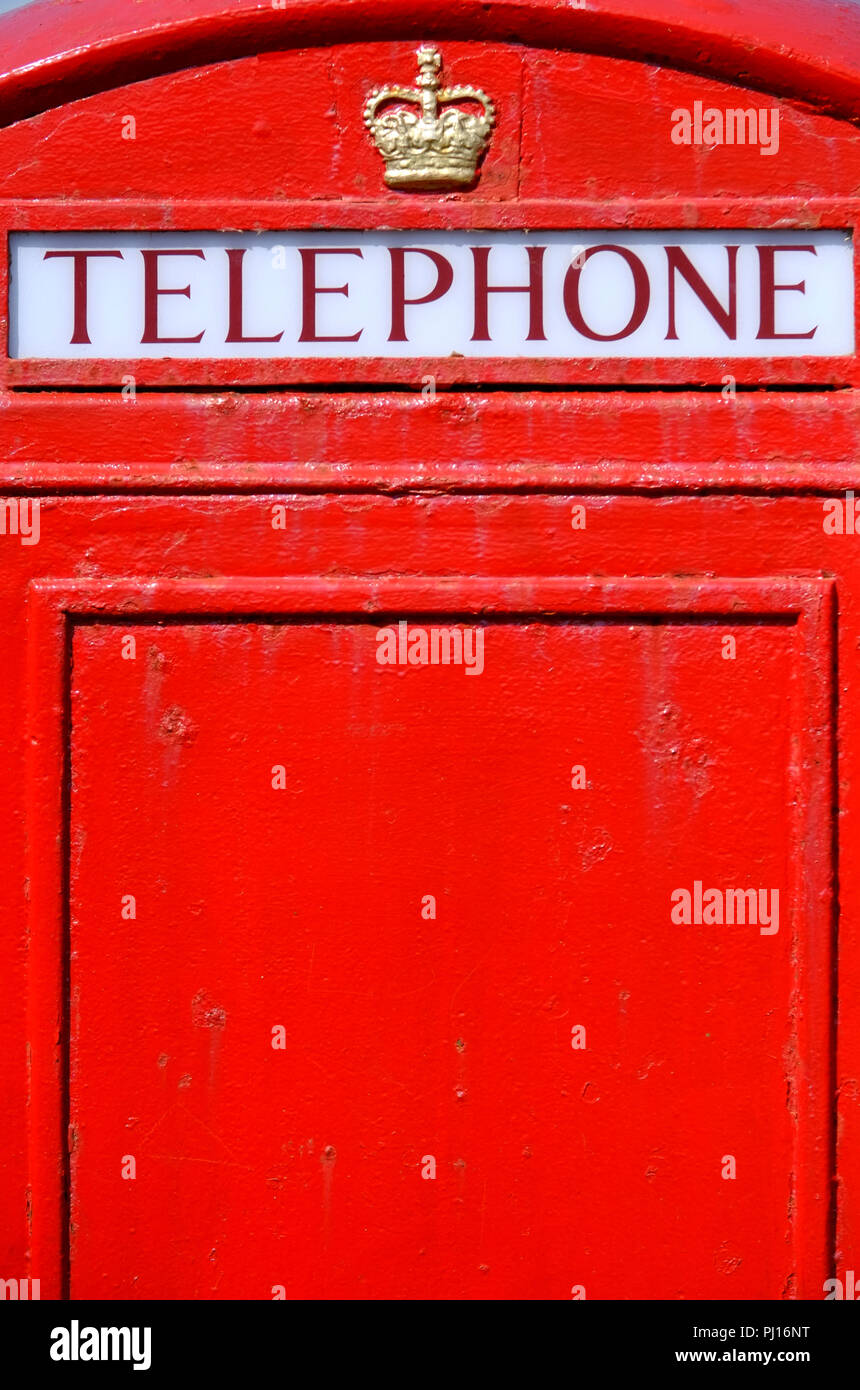 Detail of a British red public telephone box - Stock Image