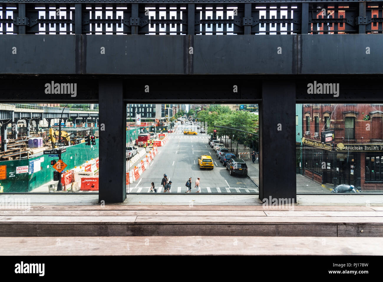 New York City, USA - June 22, 2018: Observatory in High Line. The High Line is an elevated linear park, greenway and rail trail. It was created on a f - Stock Image