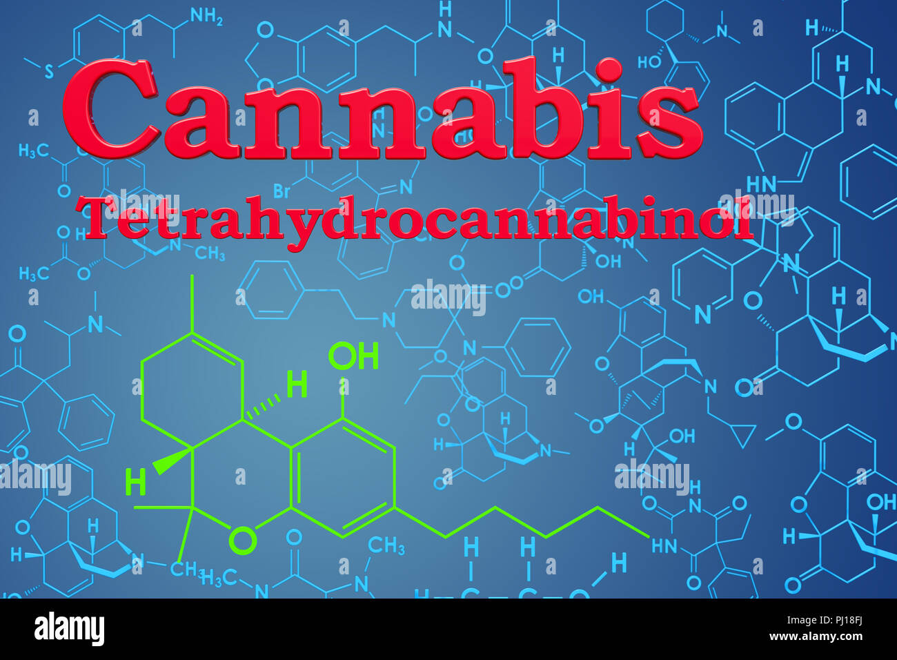 Cannabis, marijuana or tetrahydrocannabinol. Chemical formula, molecular structure. 3D rendering Stock Photo