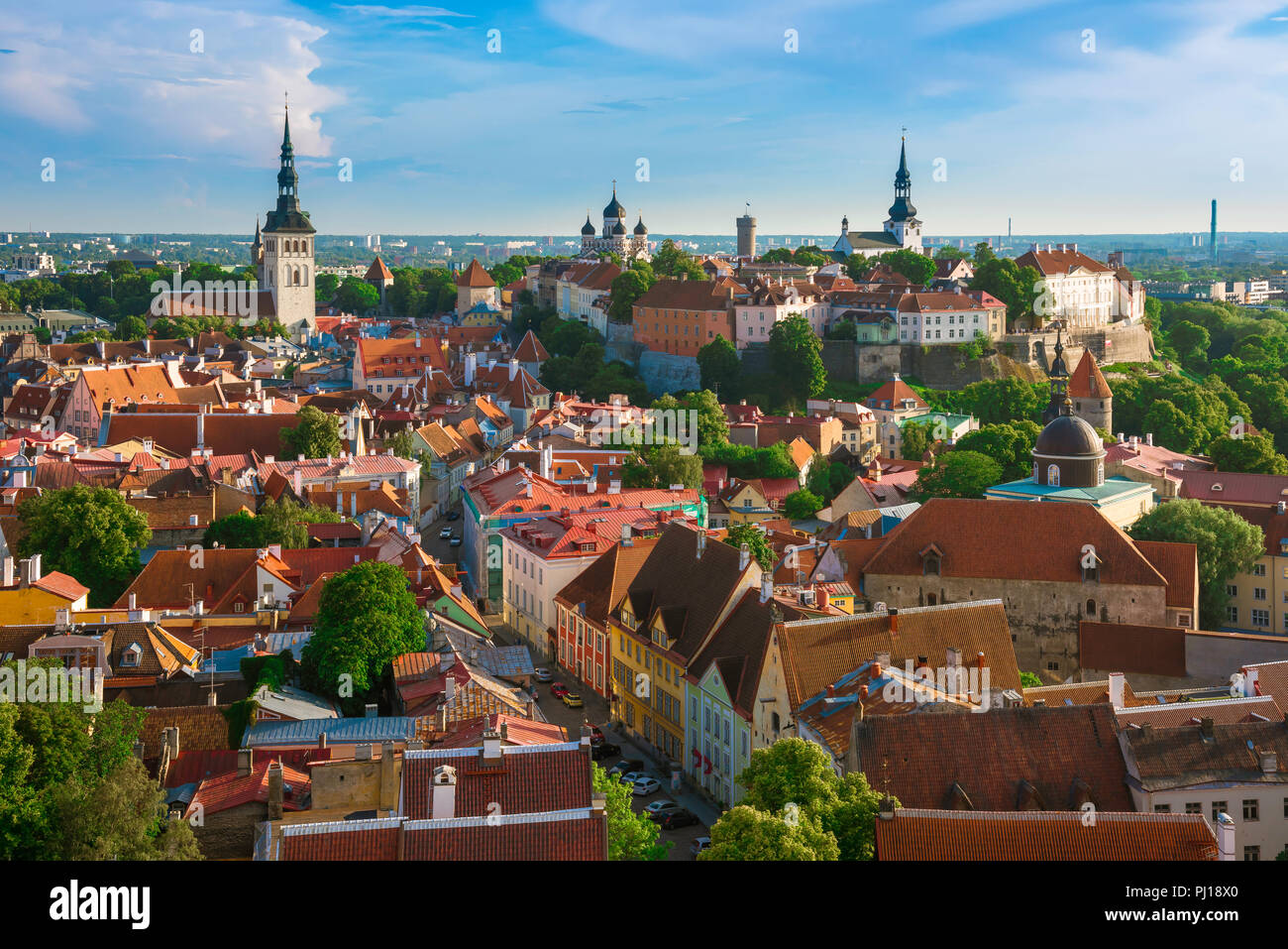Tallinn cityscape, view across the roofs of the medieval Old Town quarter towards Toompea Hill, Tallinn, Estonia. Stock Photo