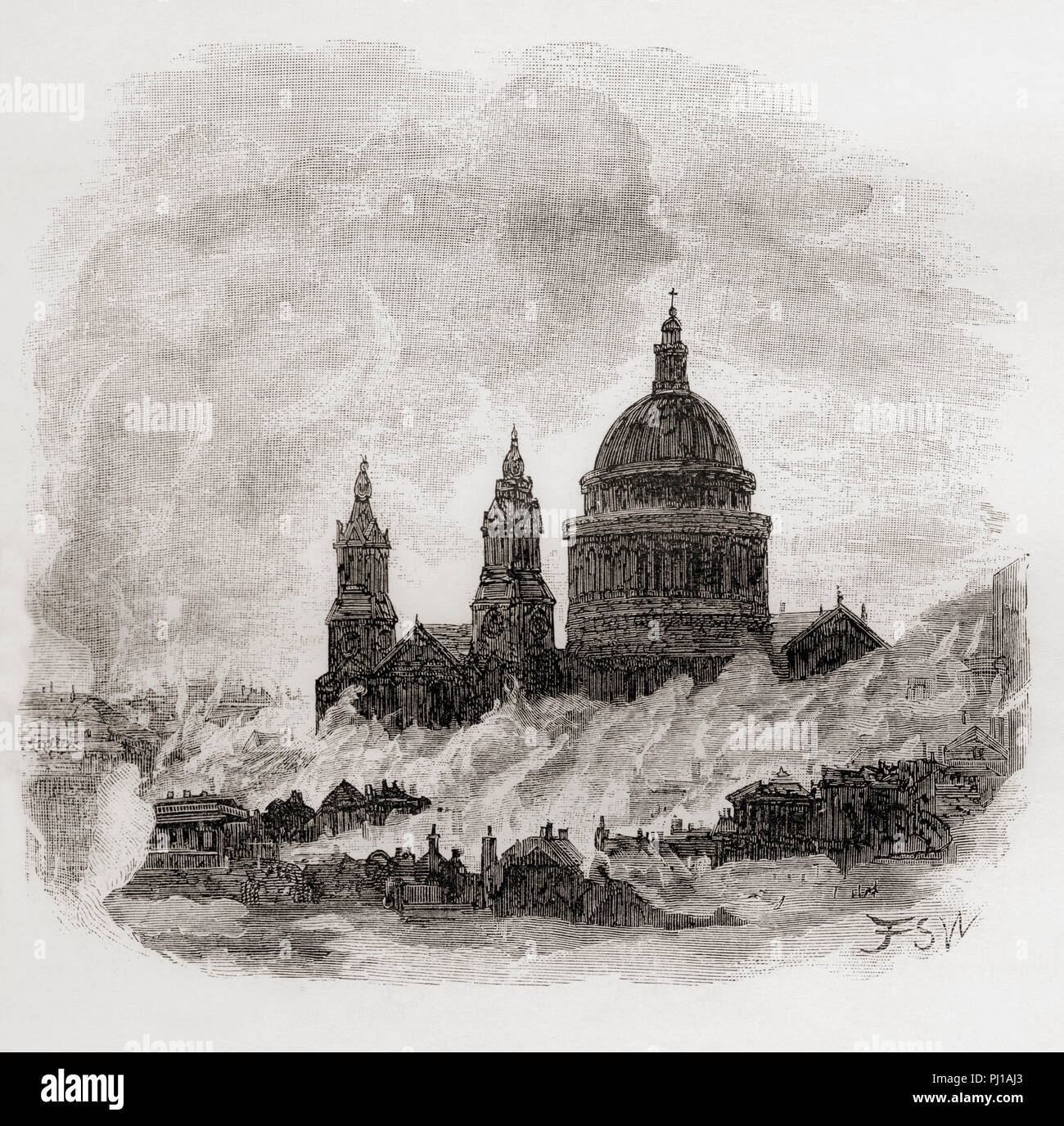 Scene depicting the Great Fire of London, 1666.  From London Pictures, published 1890. - Stock Image
