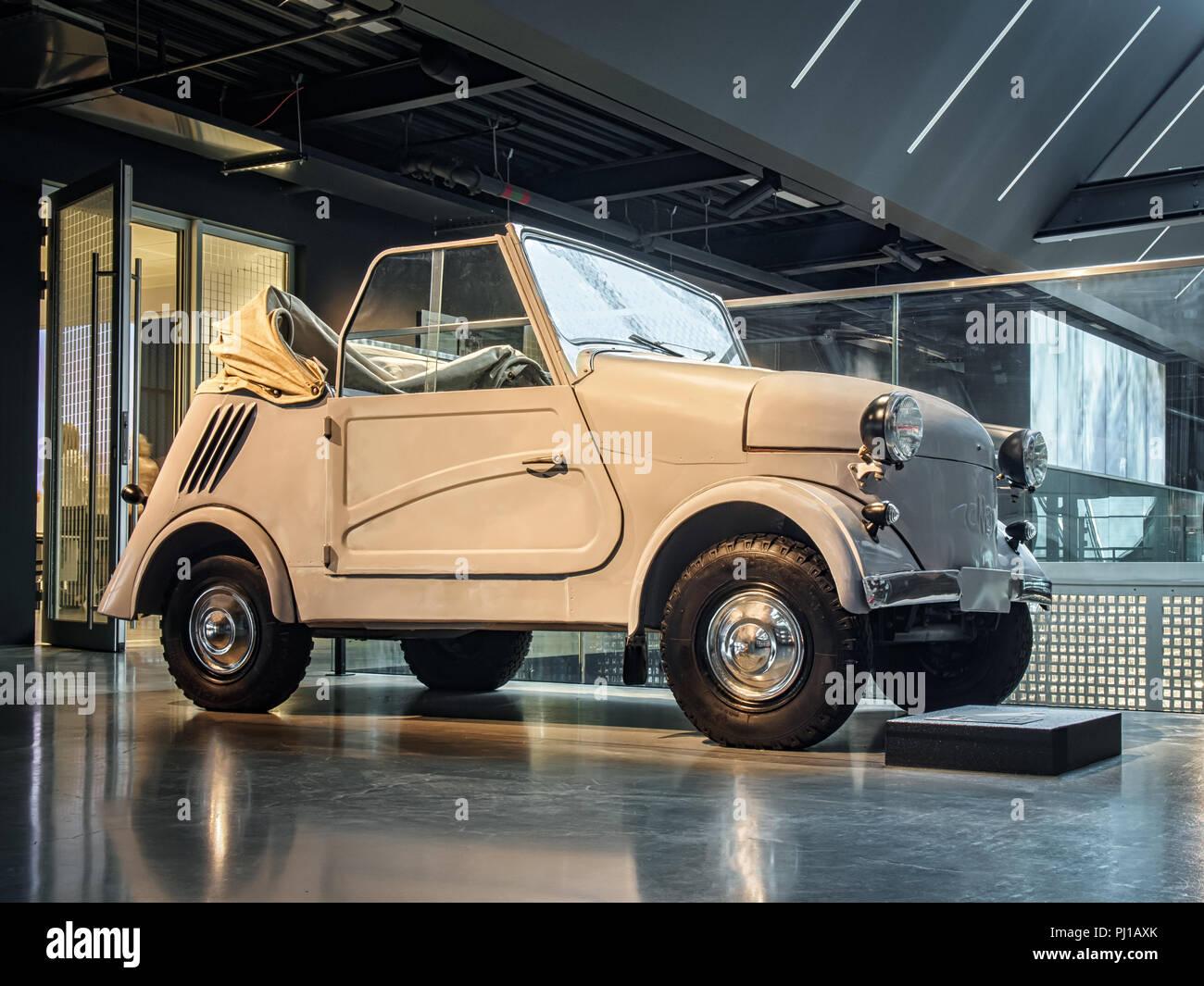 RIGA, LATVIA-APRIL 18, 2018: Soviet car 1967 SMZ S3 AM  in the Riga Motor Museum. - Stock Image