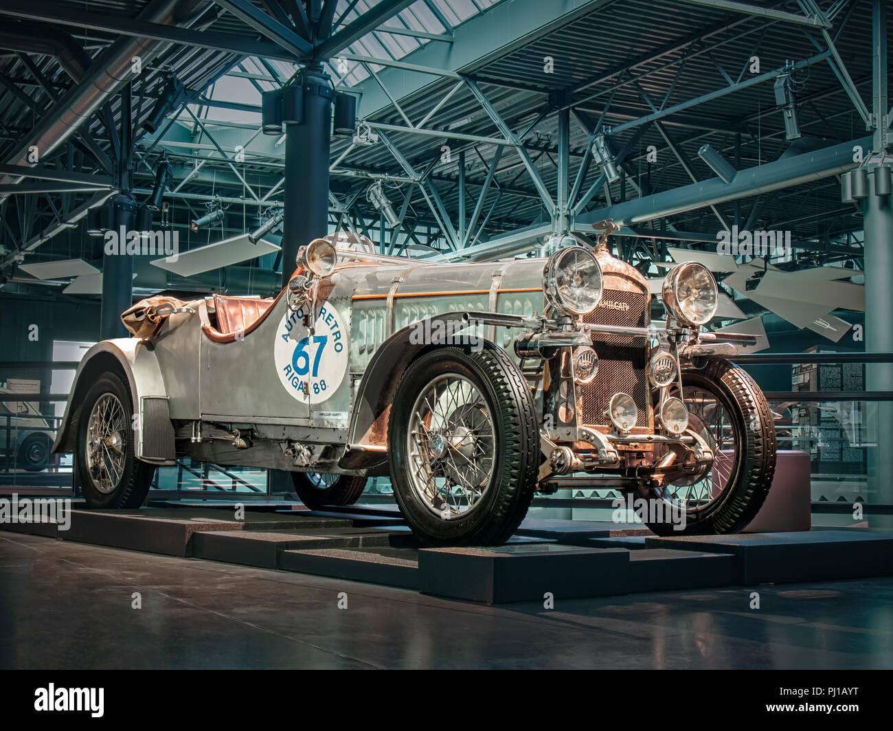RIGA, LATVIA-APRIL 18, 2018: 1934 Amilcar CGS in the Riga Motor Museum. - Stock Image