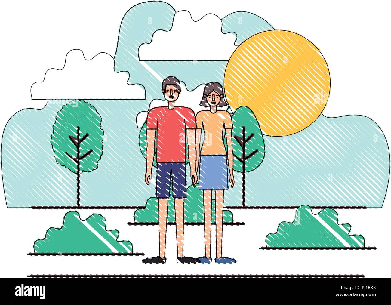 couple characters in day landscape - Stock Vector