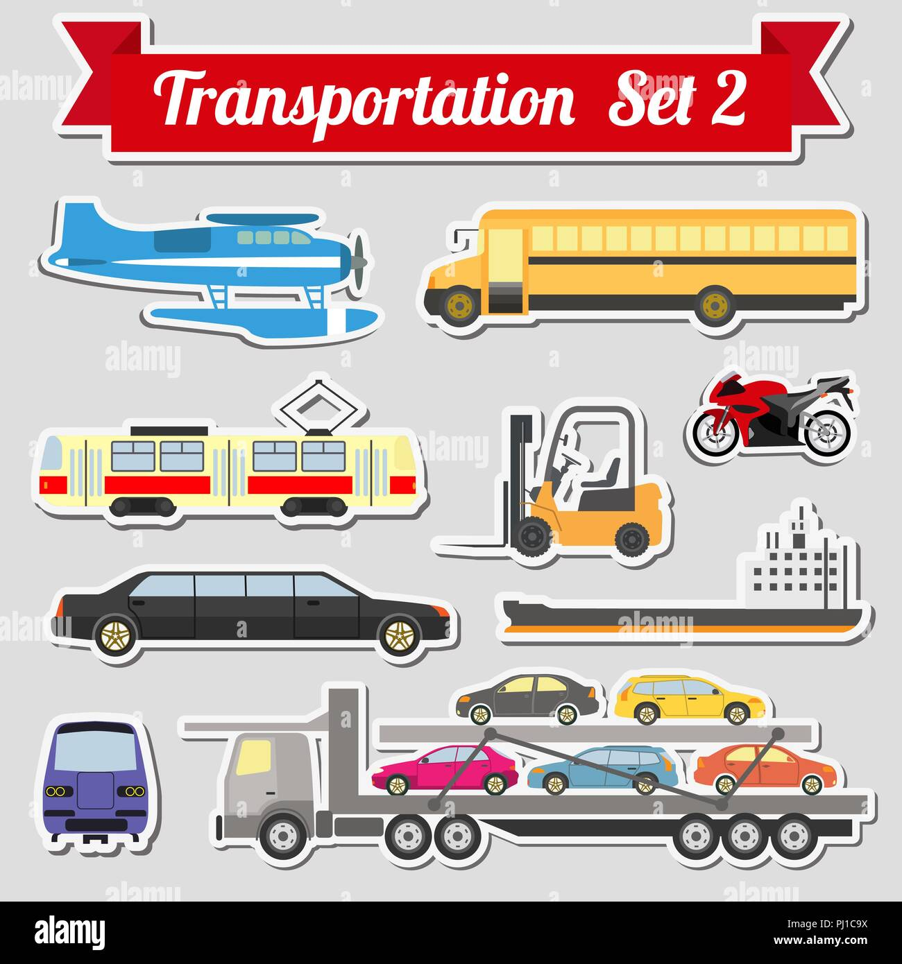 Set of all types of transport icon for creating your own