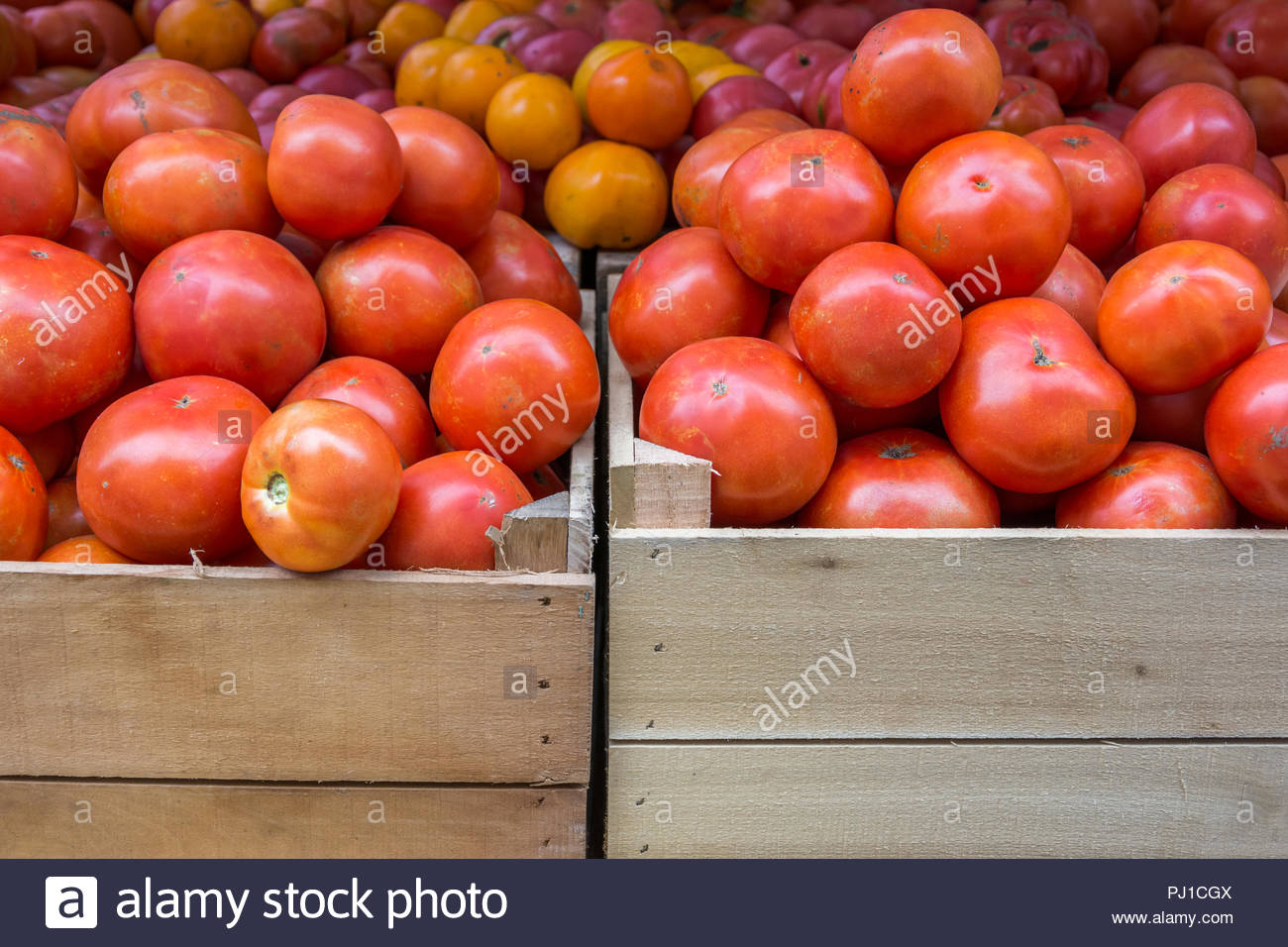 Fresh, ripe tomatoes in wood crates at a farmer's market. Stock Photo