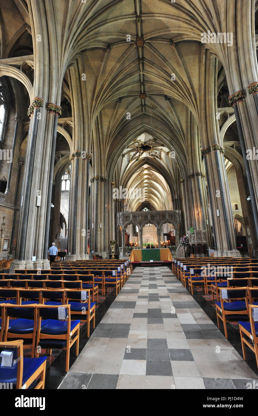 Interior of Bristol Cathedral Church of the Holy and Undivided trinity on College Green ,Founded in the 1140 and Consecrated in 1148. Built in 1220-18 - Stock Image