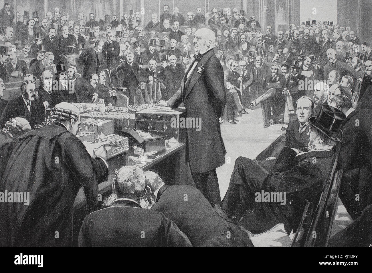 William Ewart Gladstone, , 29 December 1809 – 19 May 1898, British statesman, presenting the Home-Rule-Bill to the english lower house, digital improved reproduction of an woodprint from the year 1890 - Stock Image