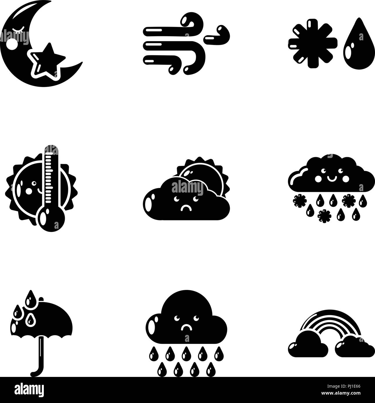 Damp weather icons set, simple style - Stock Vector