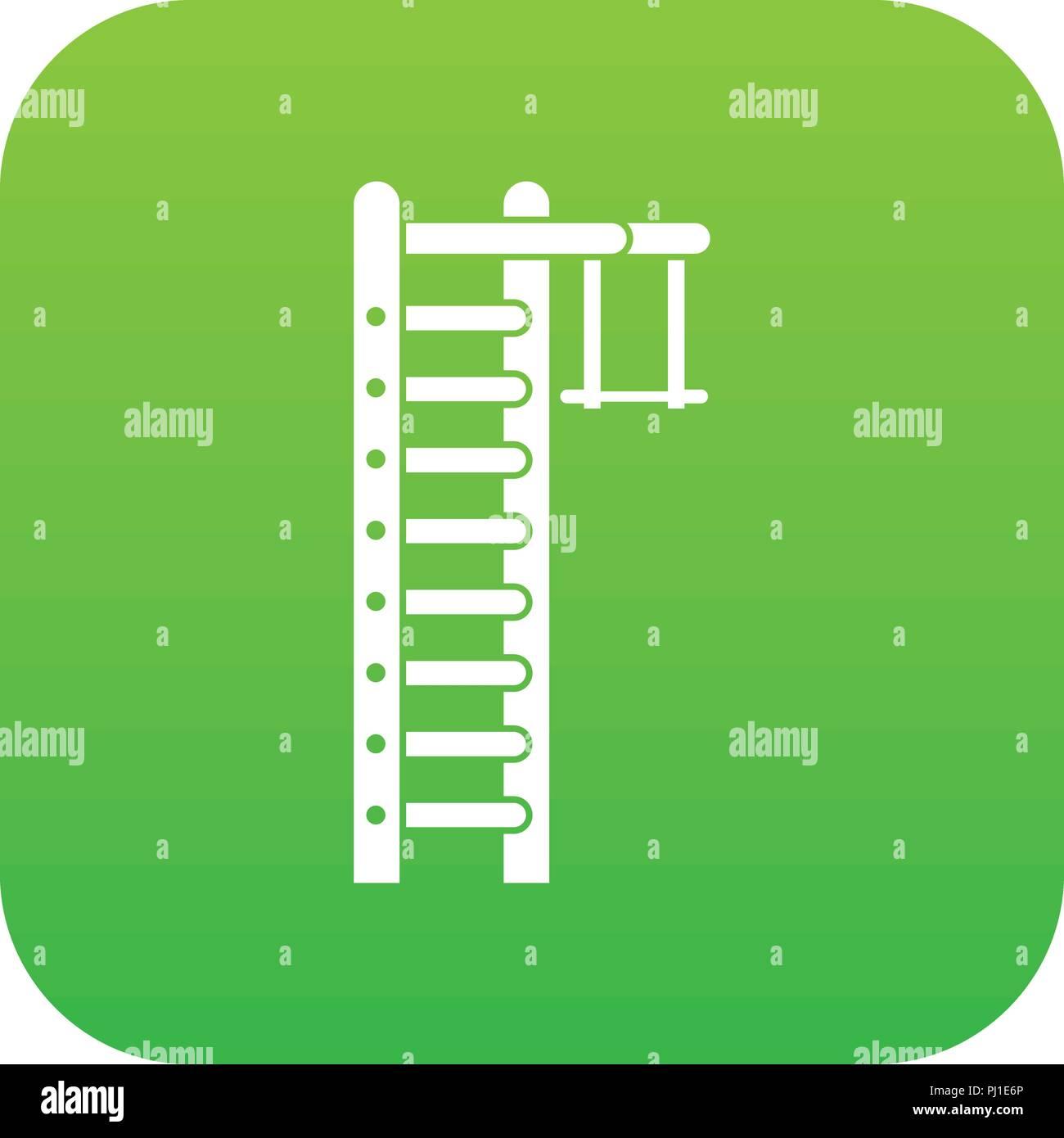 Swedish ladder icon digital green - Stock Image