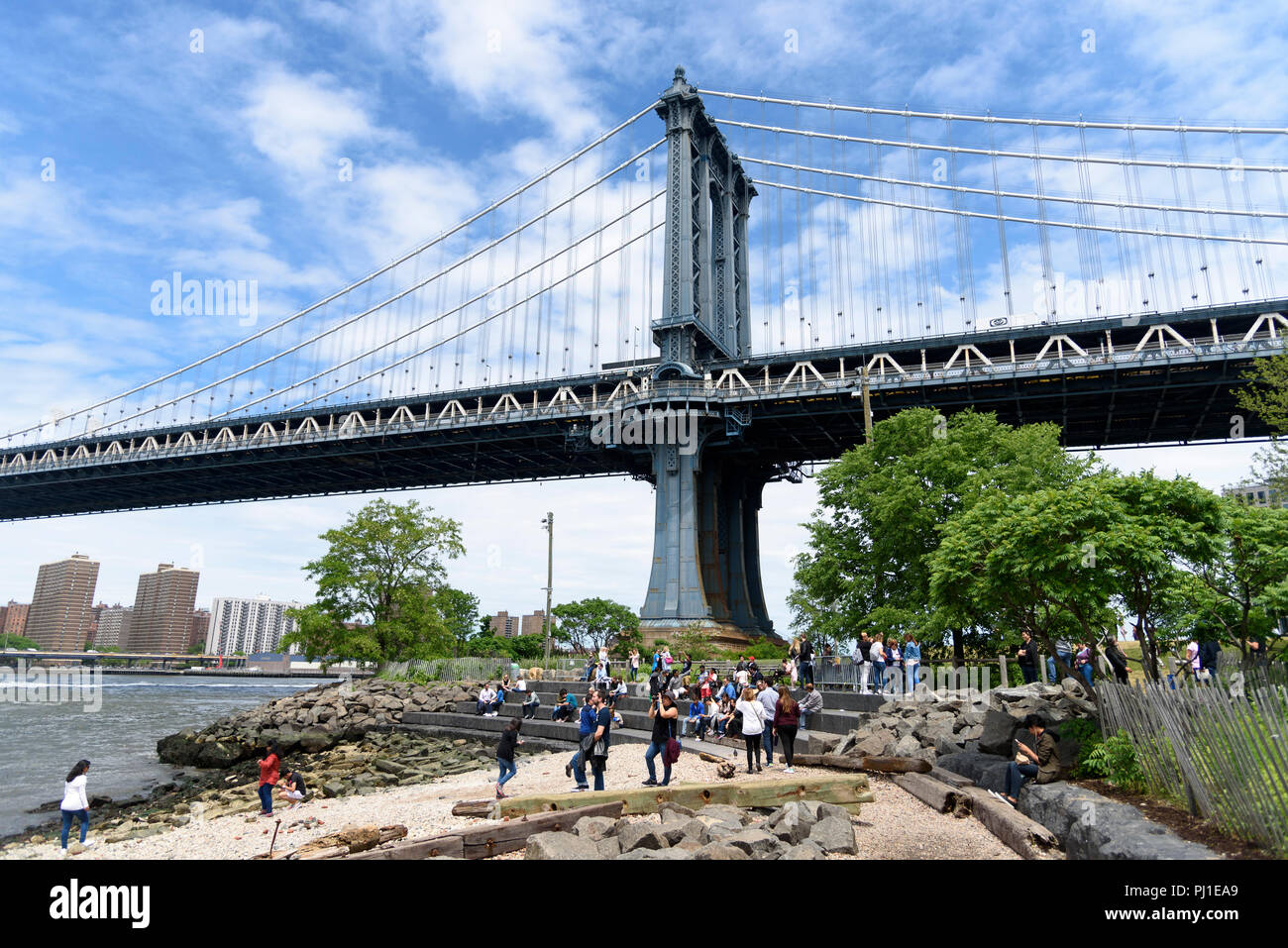 05-2017 New York, USA, DUMBO: Down Under the Manhattan Bridge Overpass.  Photo: © Simon Grosset Stock Photo