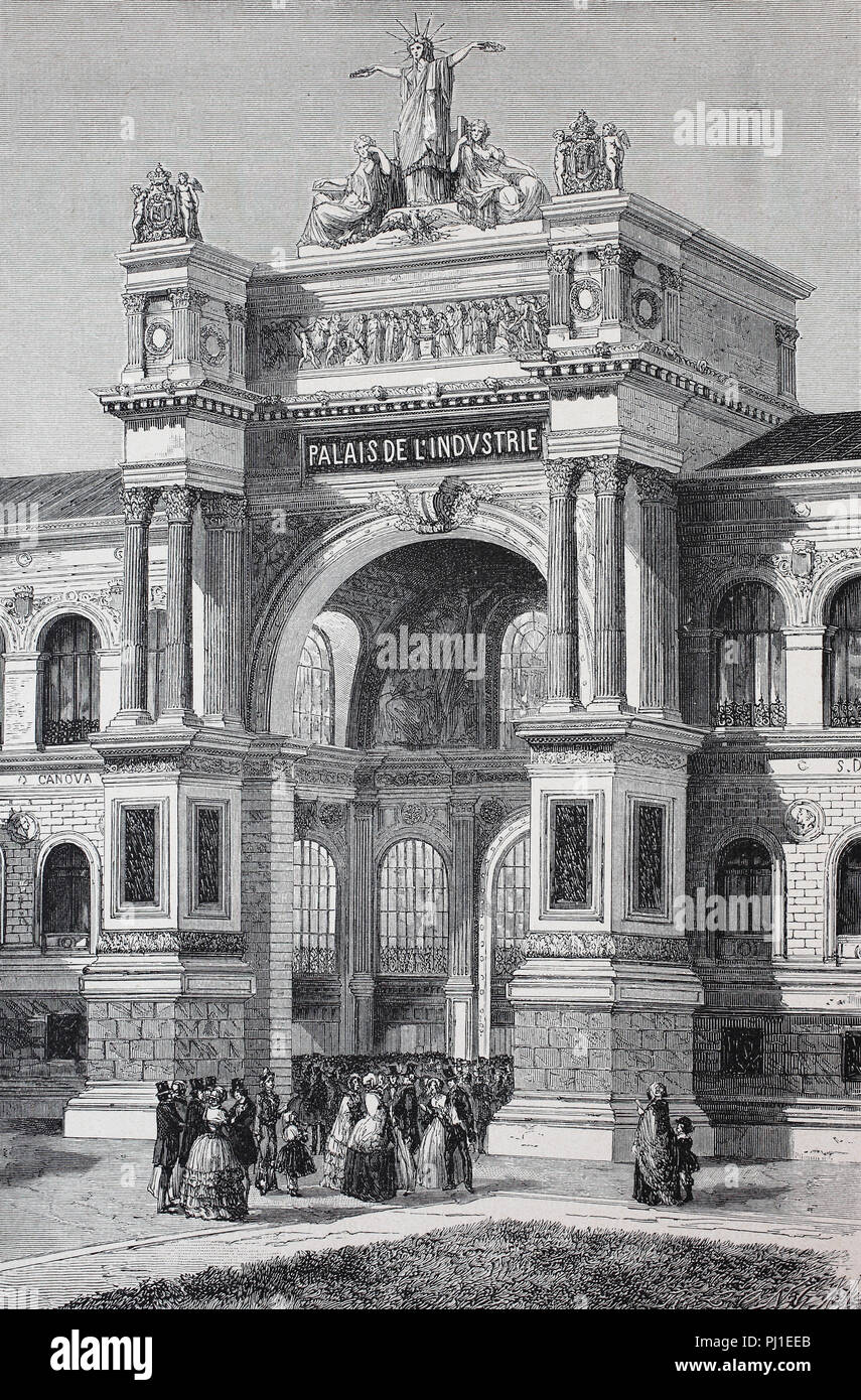Gate of the Exposition Universelle of 1855, International Exhibition, Champs-Élysées Paris, France, digital improved reproduction of an woodprint from the year 1890 Stock Photo