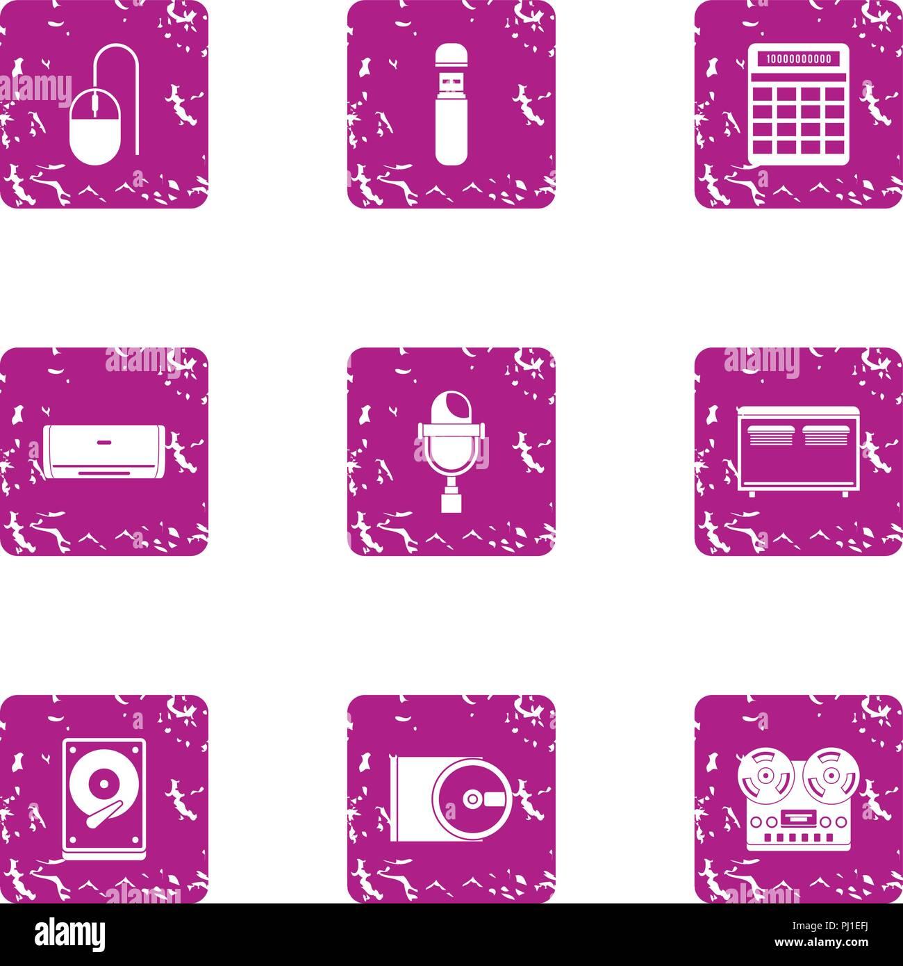 Periphery icons set, grunge style - Stock Image