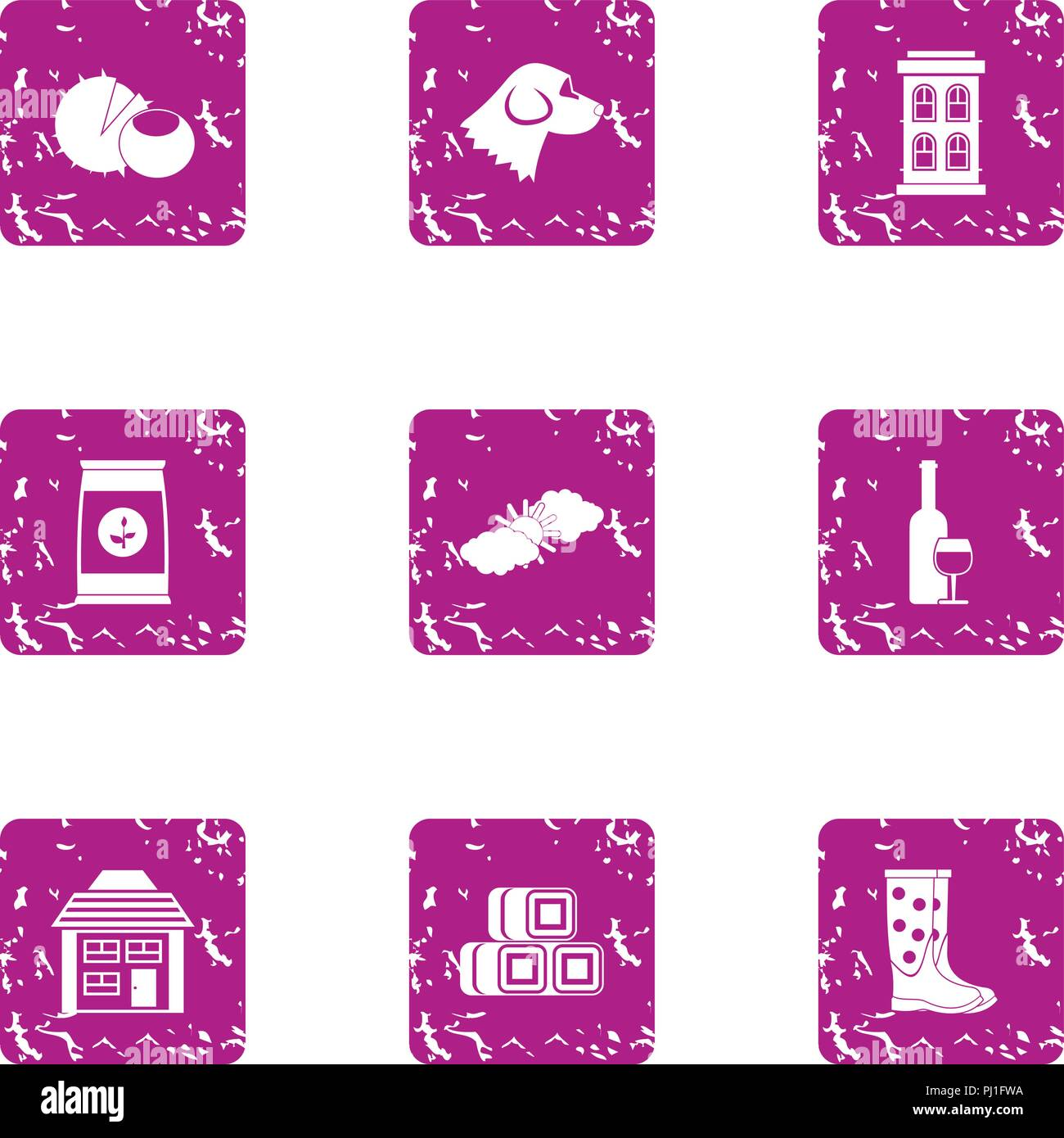 Private yard icons set, grunge style - Stock Vector